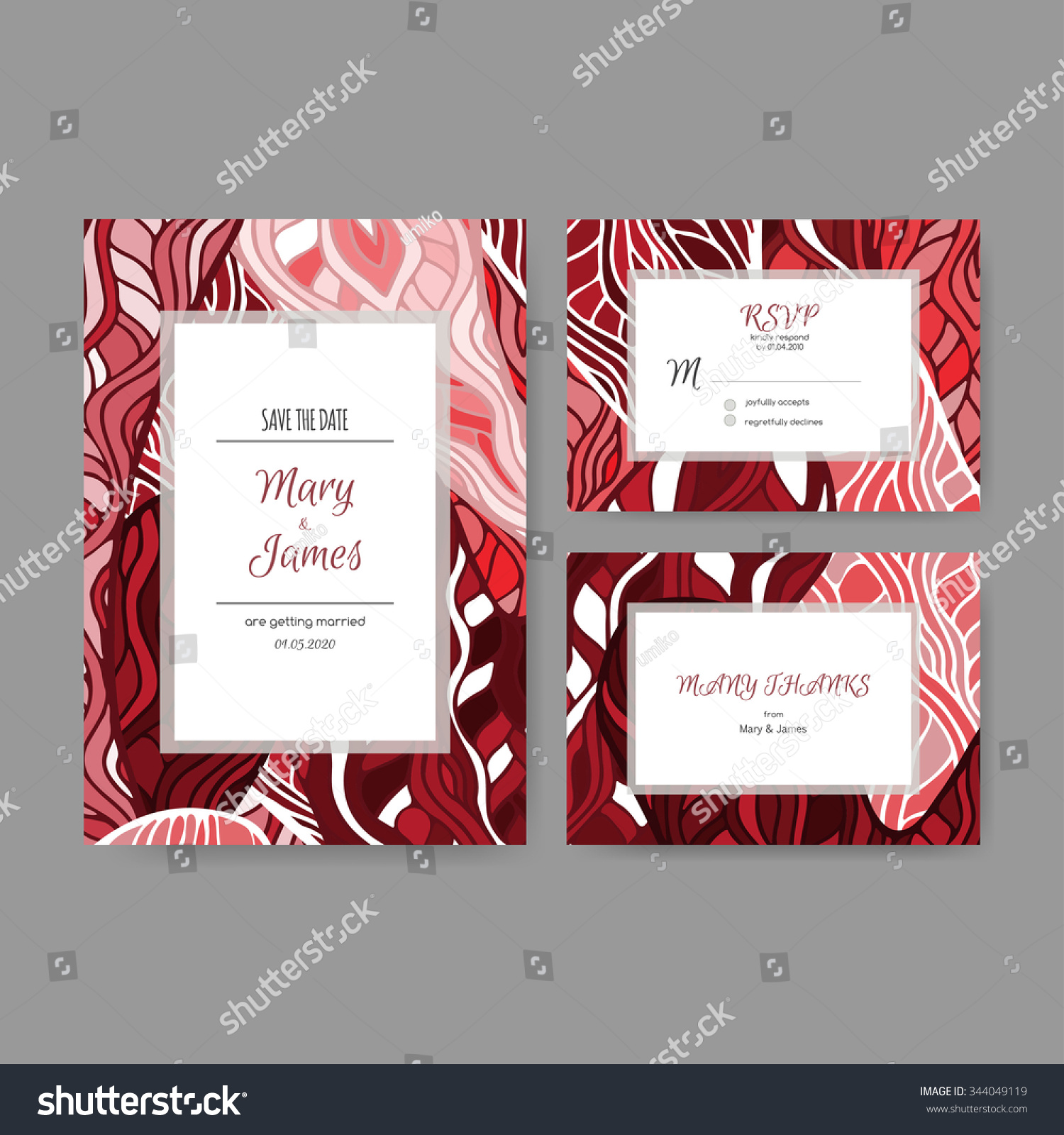 Set Bright Wedding Cards Based On Stock Vector 344049119 - Shutterstock
