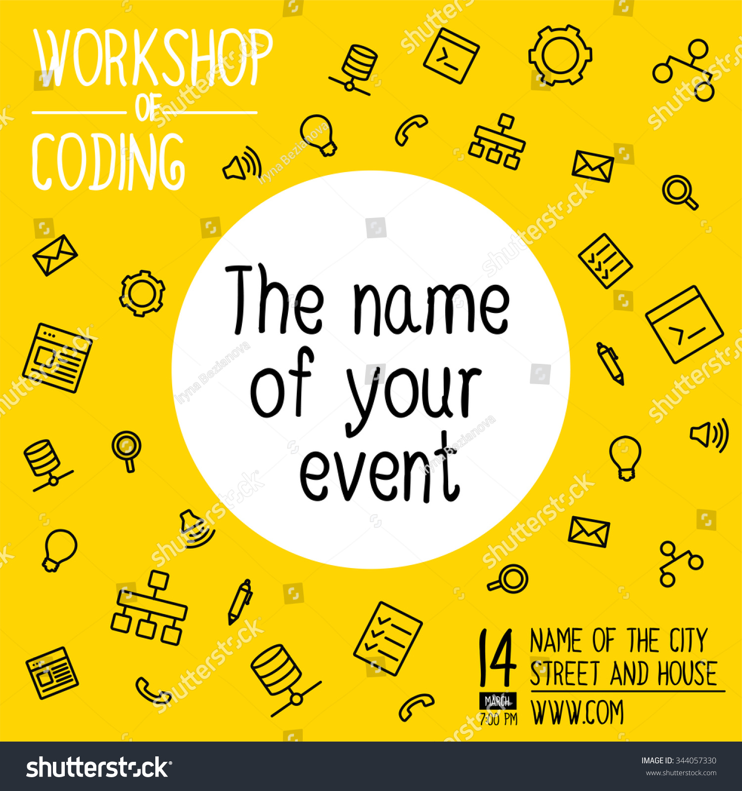 banner invitation hackathon workshop vector banner stock vector 344057330 shutterstock. Black Bedroom Furniture Sets. Home Design Ideas