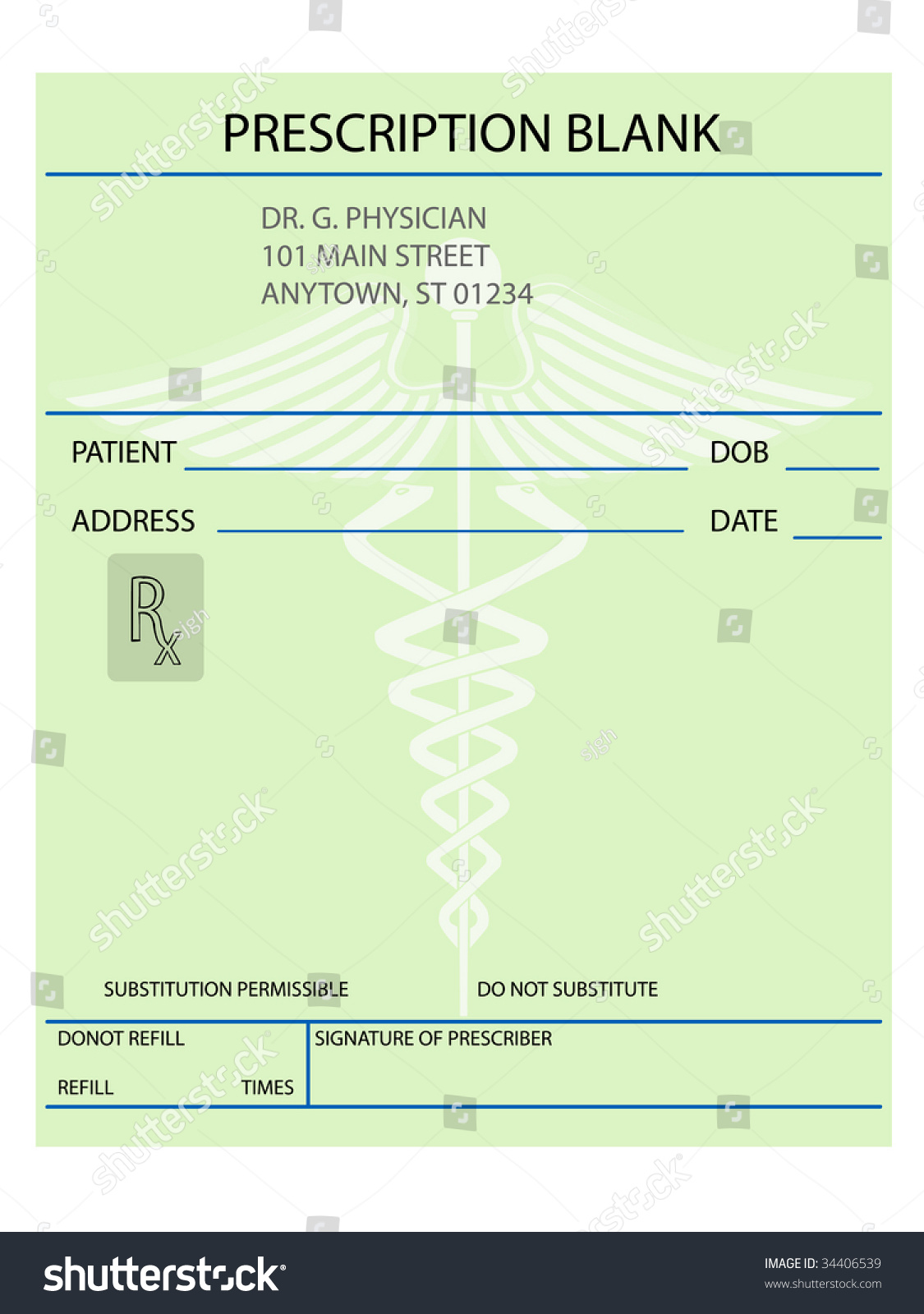 Illustration Of Prescription Form -Customize As Necessary - 34406539 ...