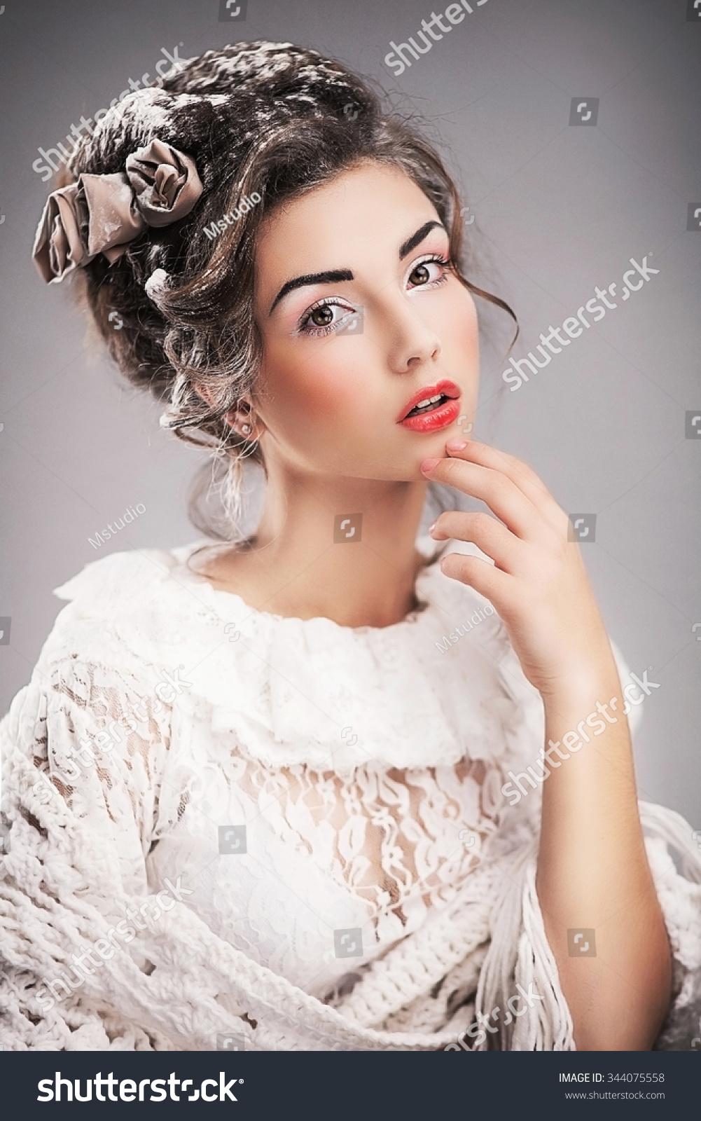 Vintage Portrait Beautiful Woman Retro Hairdo Stock Photo Edit Now