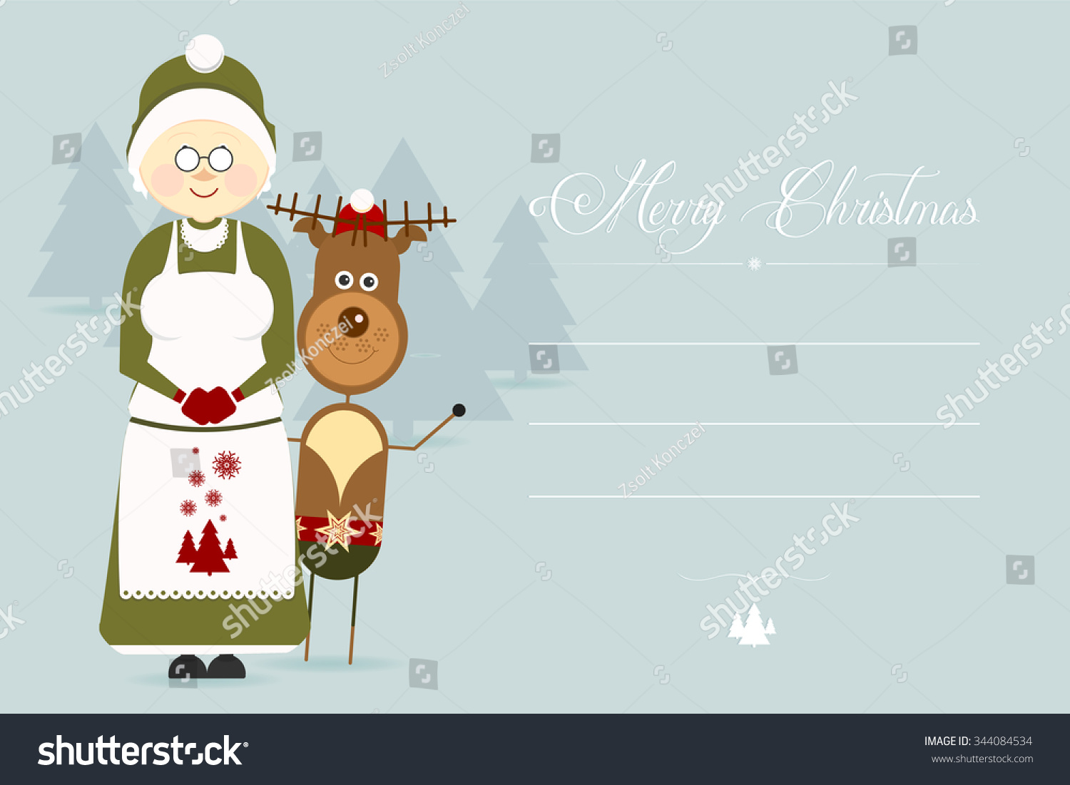 Cute christmas greeting card christmas characters stock vector cute christmas greeting card with christmas characters flat design style kristyandbryce Gallery