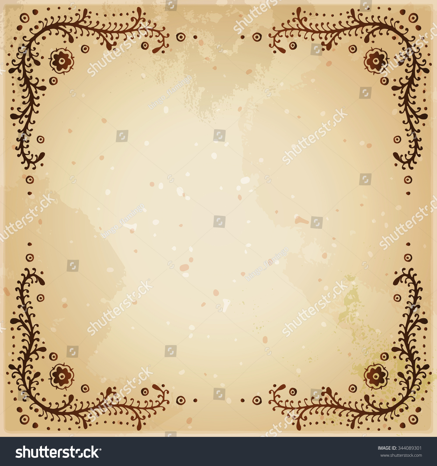 Indian Ethnic Henna Tattoo Framed Background Stock Vector