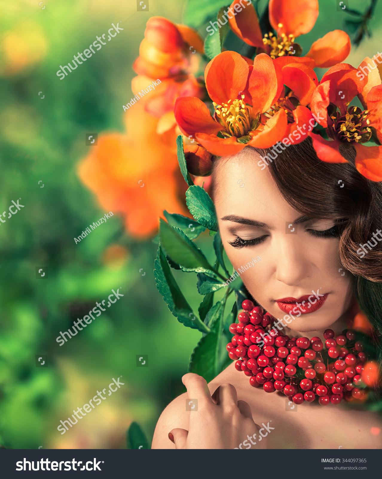 Beautiful woman flowers on her head flowers stock photo edit now beautiful woman with flowers on her head hair style izmirmasajfo