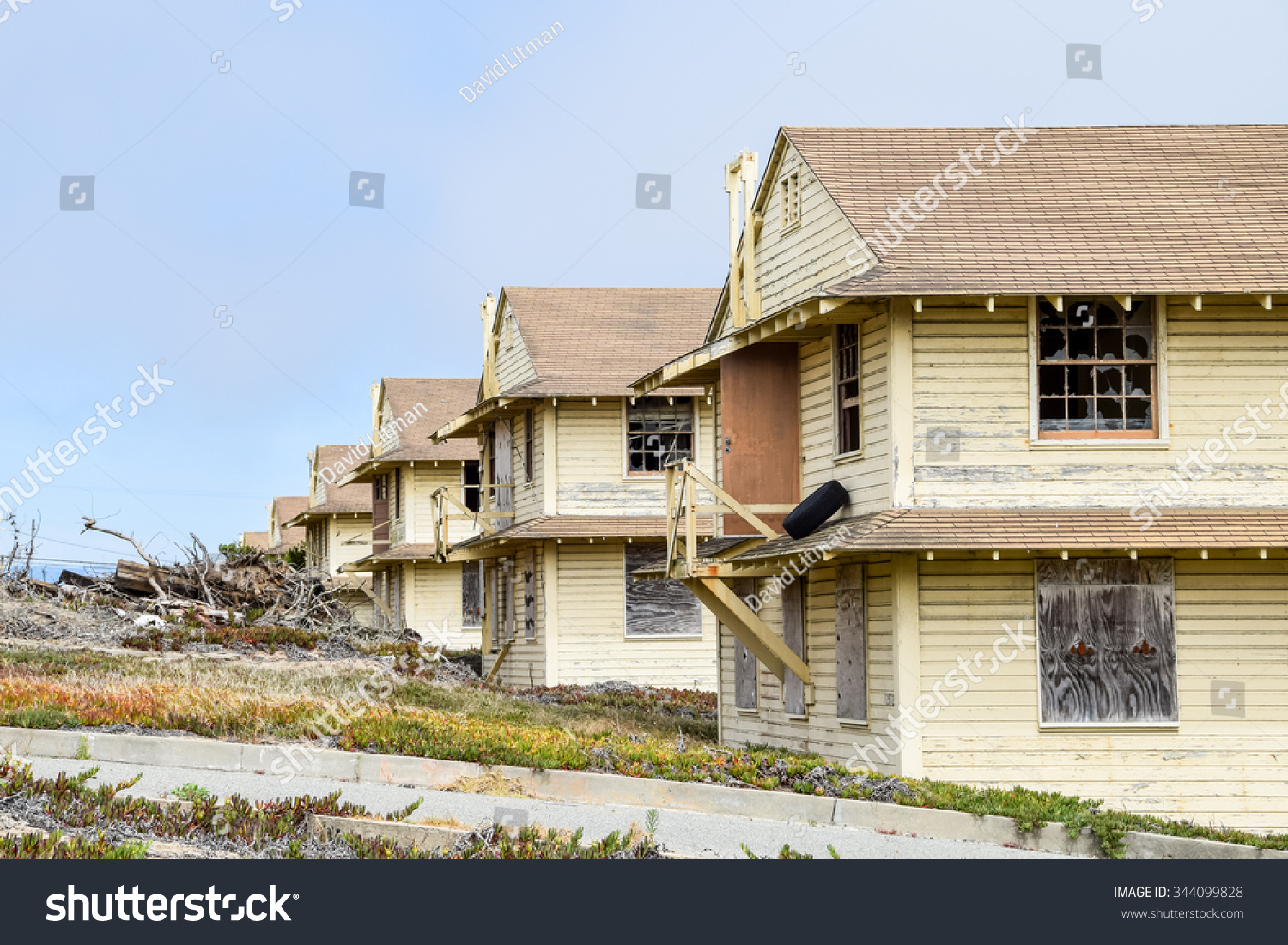 Marina, California, USA - July 3, 2015: The old military barracks at Fort Ord have been abandoned since 1994.