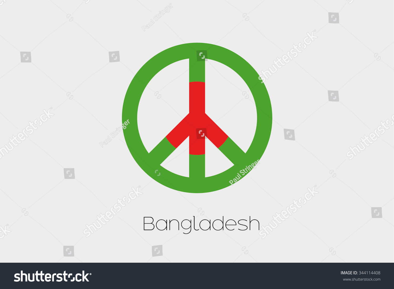 Peace Symbol Flag Bangladesh Stock Illustration Royalty Free Stock