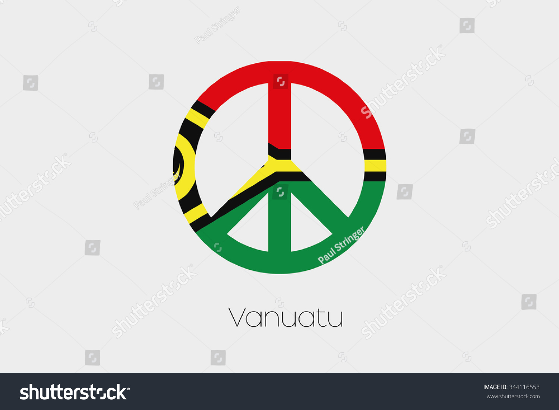 Peace Symbol Flag Vanuatu Stock Illustration Royalty Free Stock