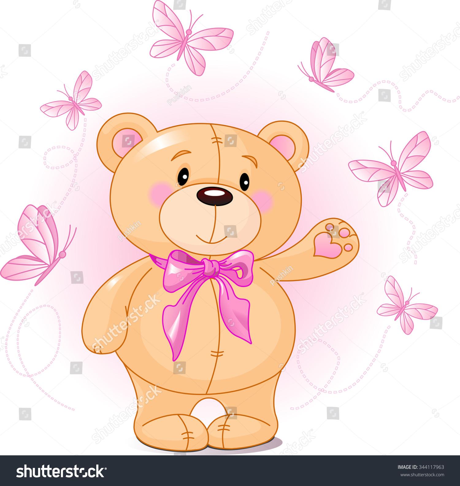Very Cute Teddy Bear Waiving Hello Stock Illustration ...