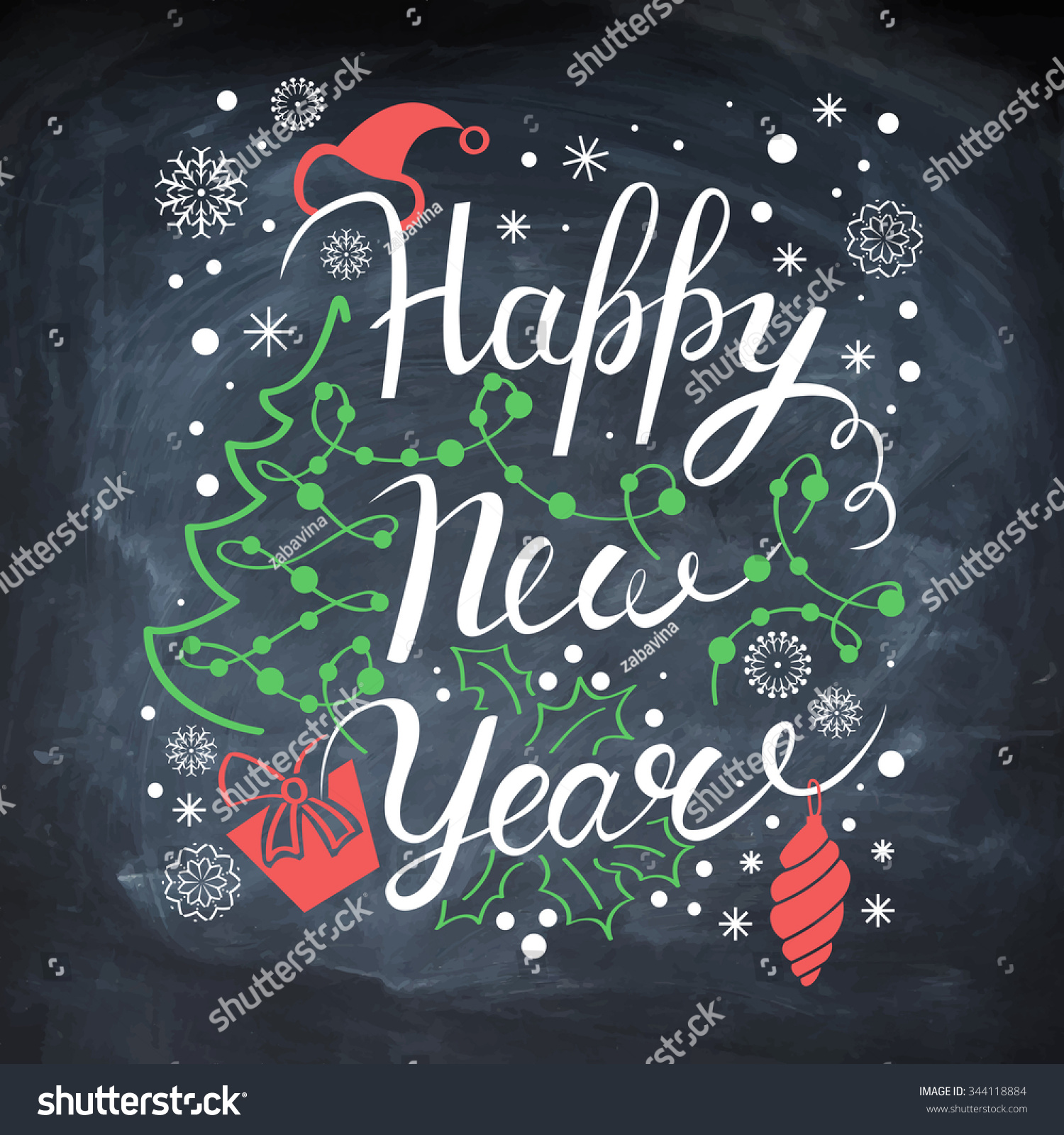 New Year poster. Vector card. Christmas decoration on chalk board ...