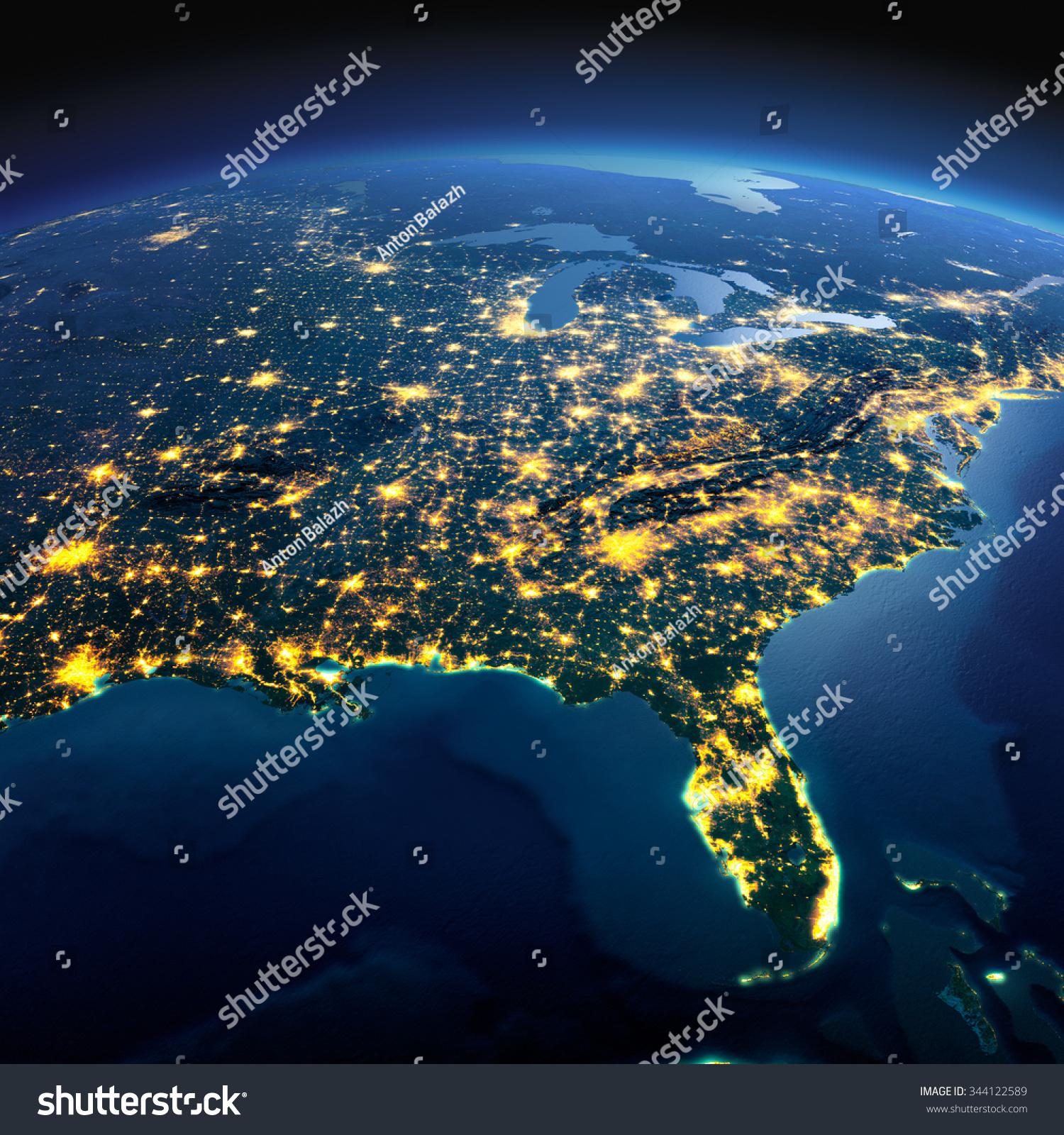 night light footprint north america nasa - photo #34