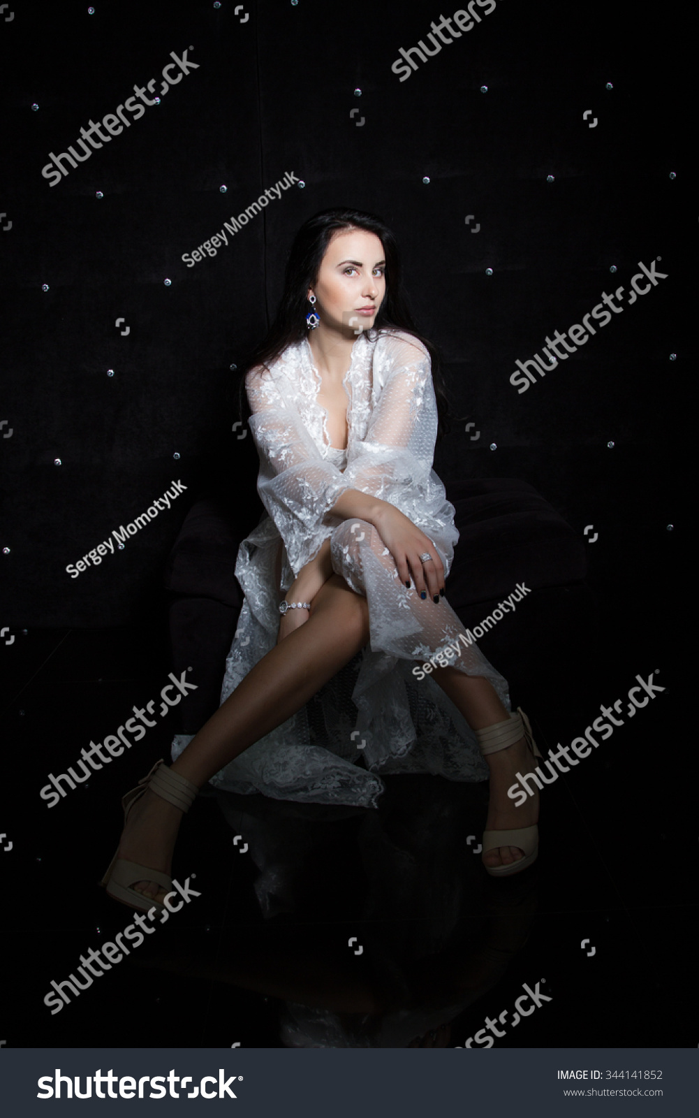 Young Girl White Dressing Gown On Stock Photo 344141852 - Shutterstock