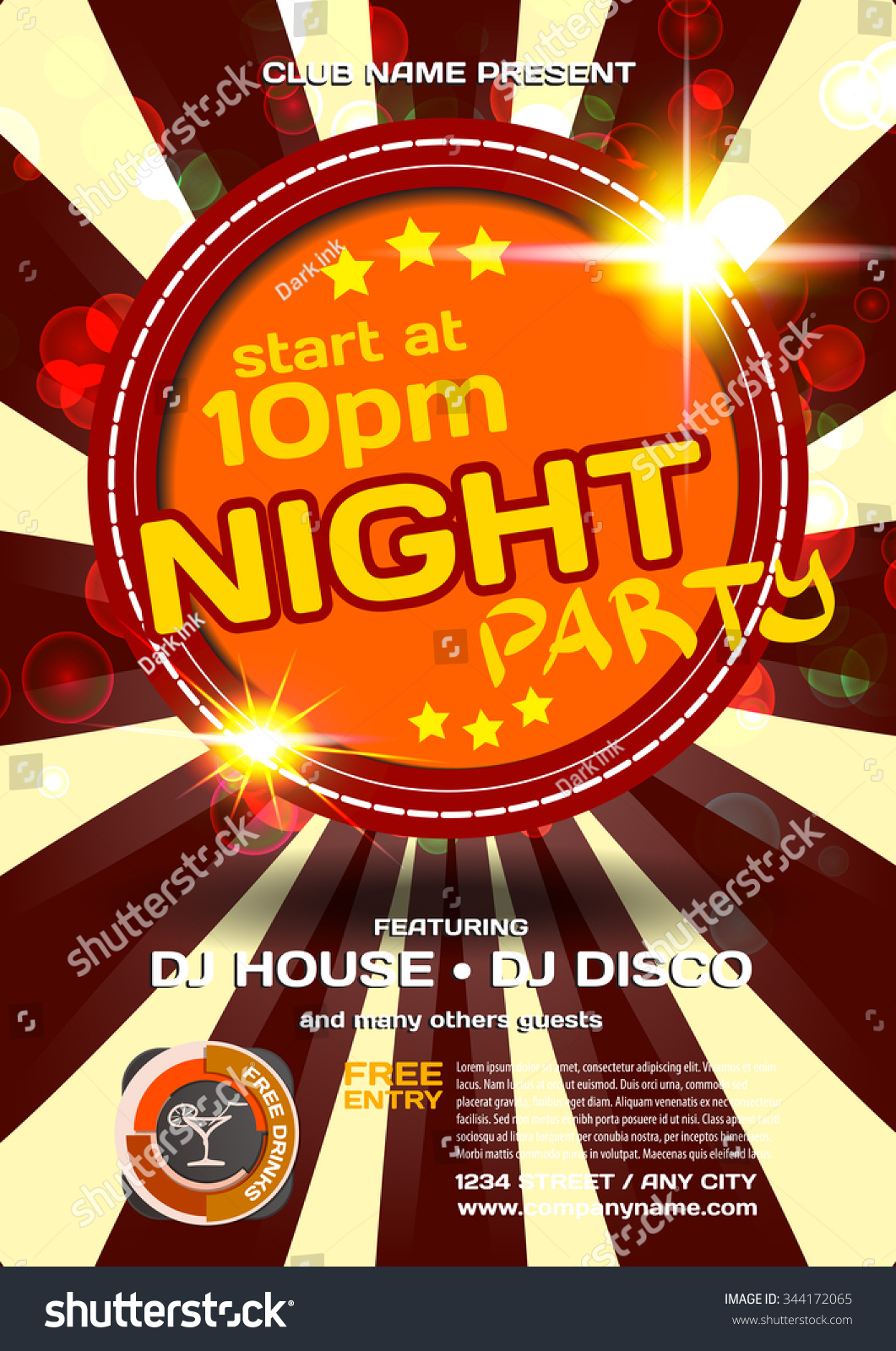 Vector Night Party Invitation Disco Style Stock Vector HD (Royalty ...
