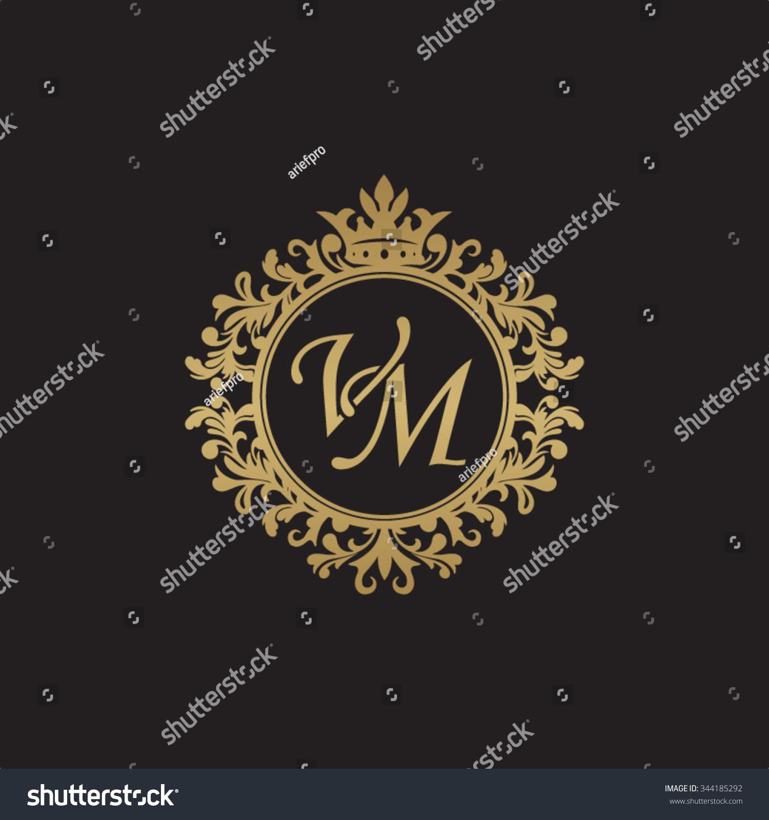 VM Initial Luxury Ornament Monogram Logo Stock Vector