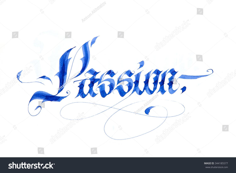 Modern gothic flat calligraphy passion stock illustration