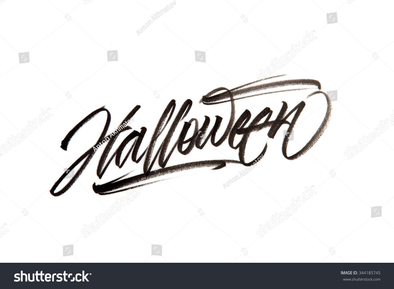 Modern brush calligraphy halloween stock illustration