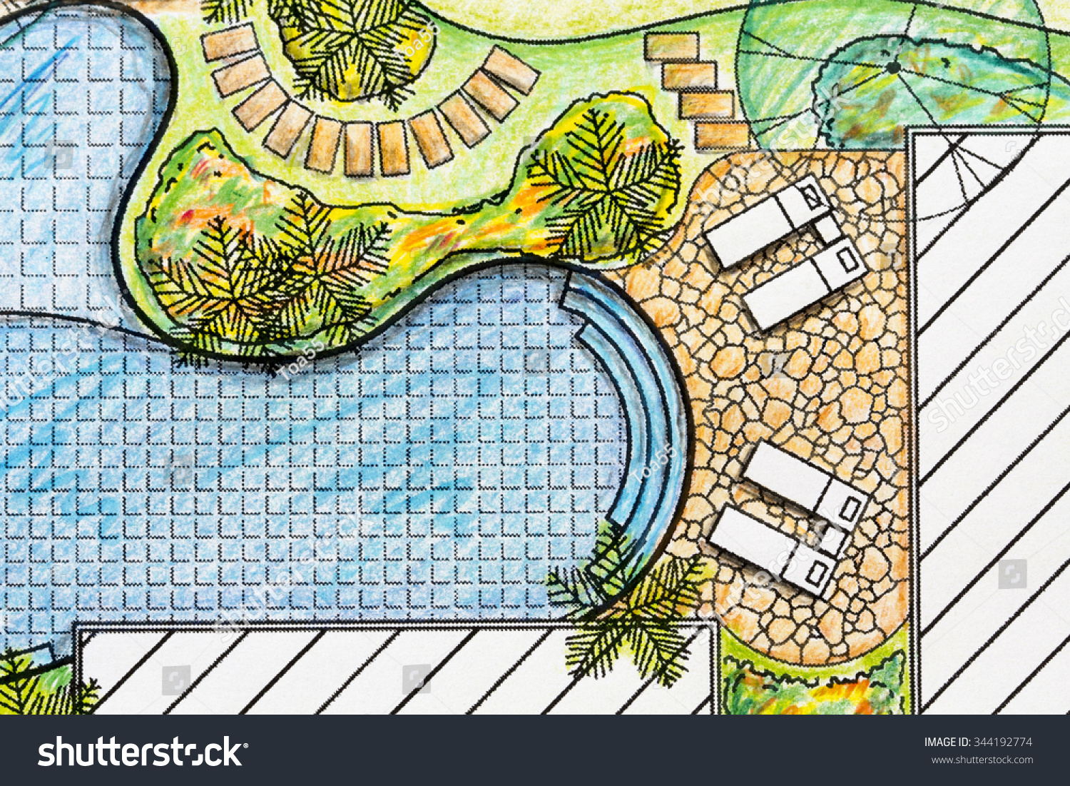 Landscape architect design backyard plan villa stock for Villa landscape design