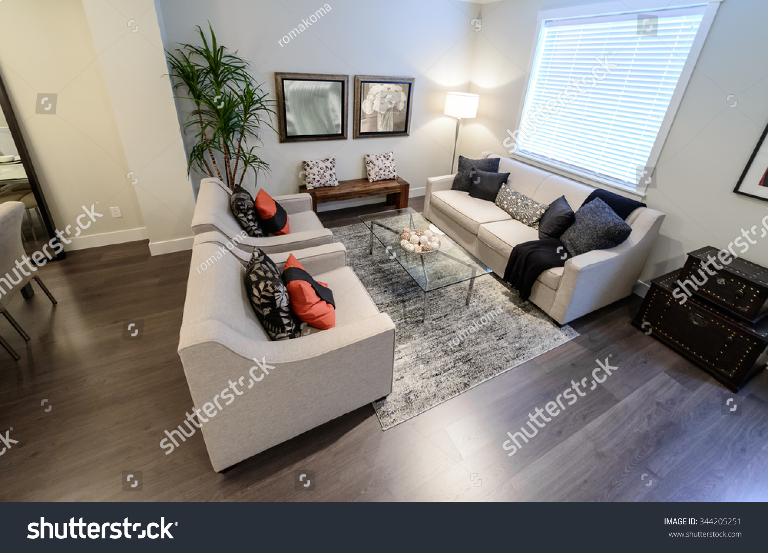 Interior Design Of Luxury Nicely Decorated Modern Living Room Suite With Sofa And Chairs