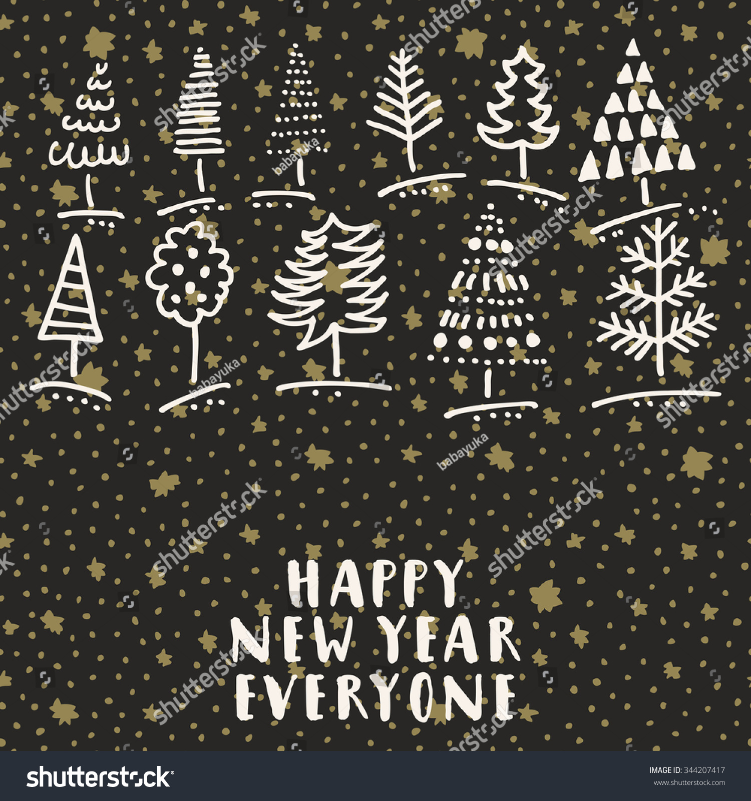 happy new year everyone trendy doodle hand drawn greeting card with christmas trees in vector