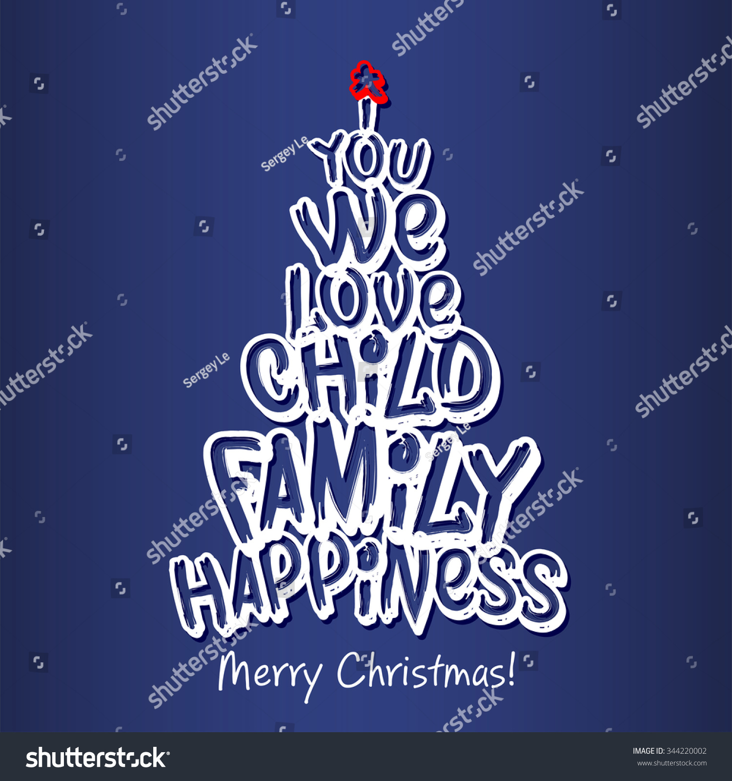 Merry Christmas Family Greeting Card Blue Stock Vector 344220002