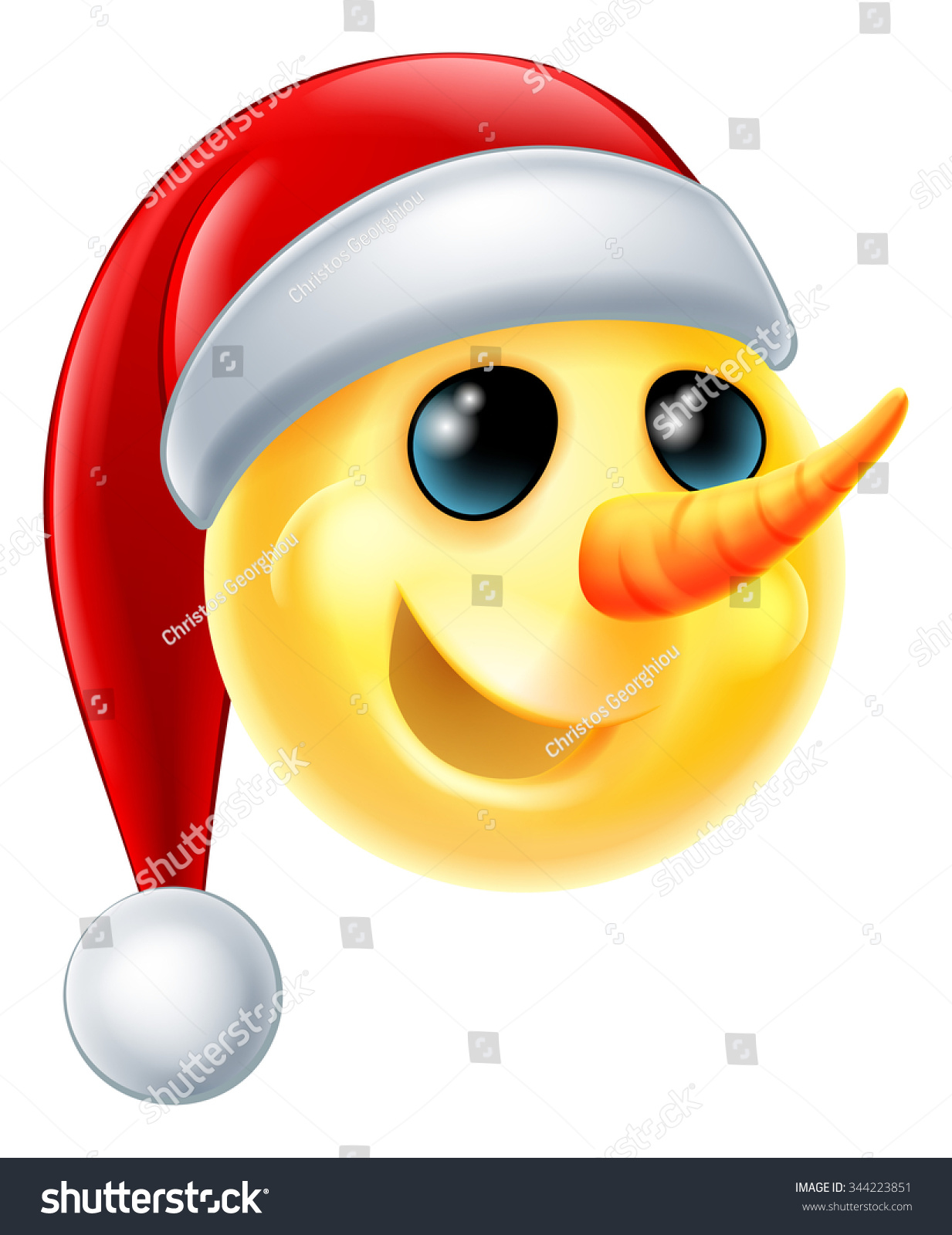 Snowman christmas emoticon emoji wearing santa stock