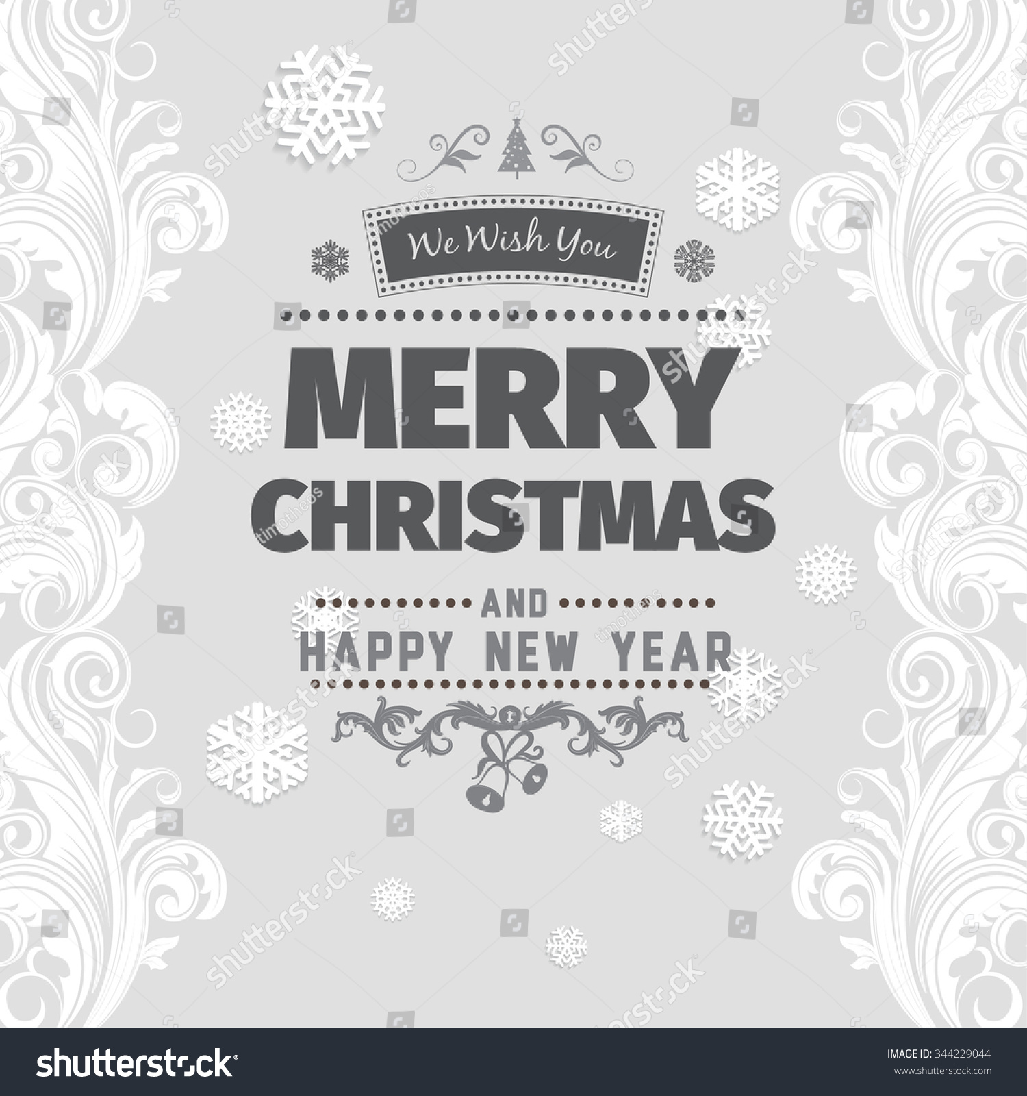 Merry christmas greetings black white card stock vector royalty merry christmas greetings black and white card with black letters on light gray background with snowflake m4hsunfo