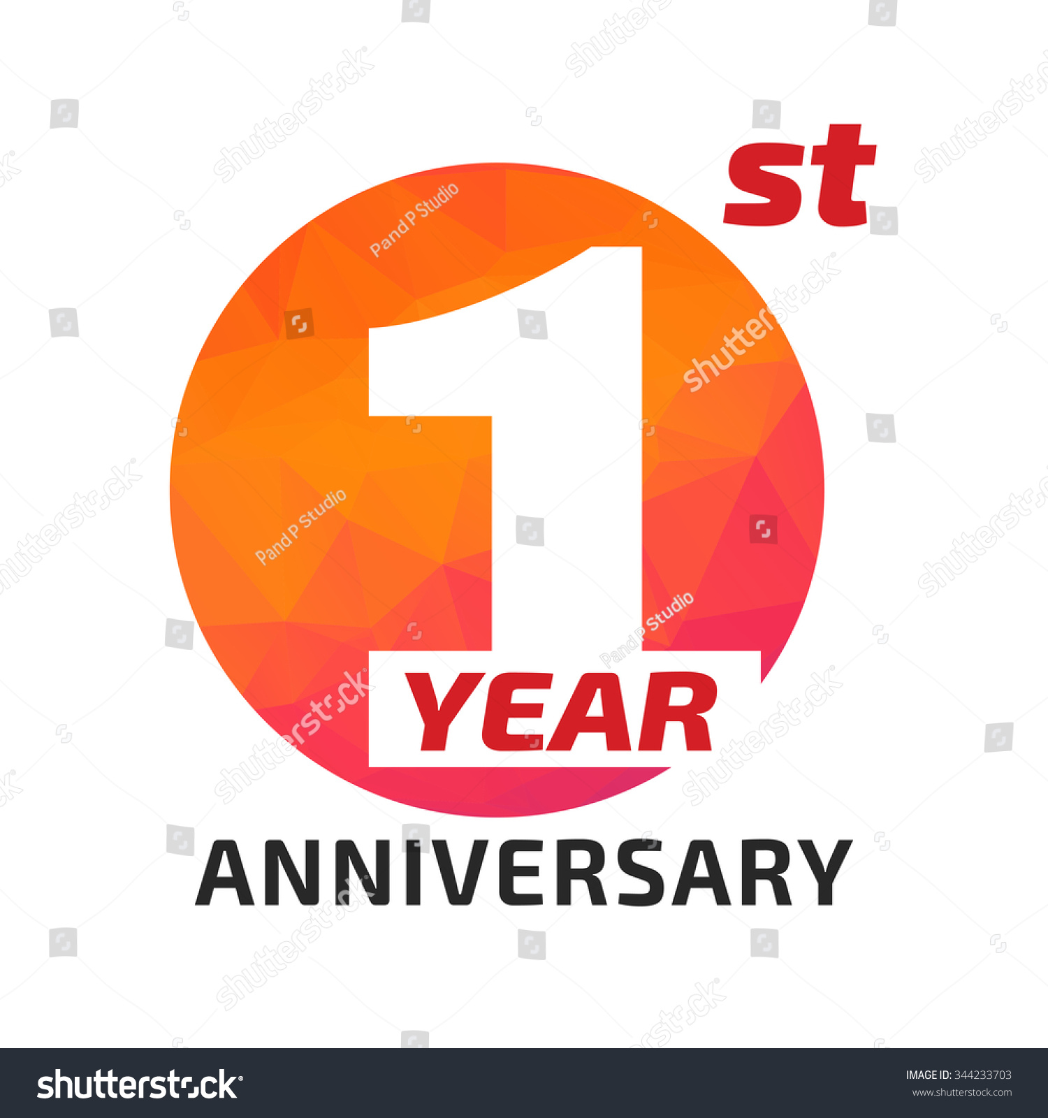 St anniversary logo template circle form stock vector