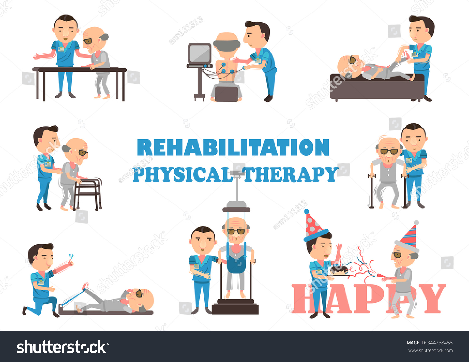 Cartoon physical therapy - The Physical Therapy Is Working Caregivers Cartoon Vector Illustration