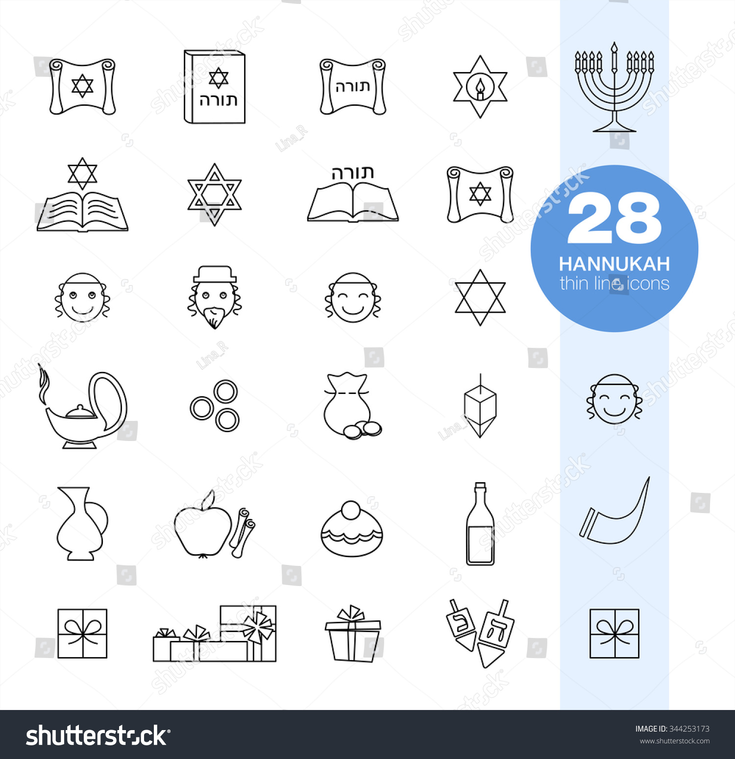 Jewish Church Traditional Religious Symbols Outline Stock Vector
