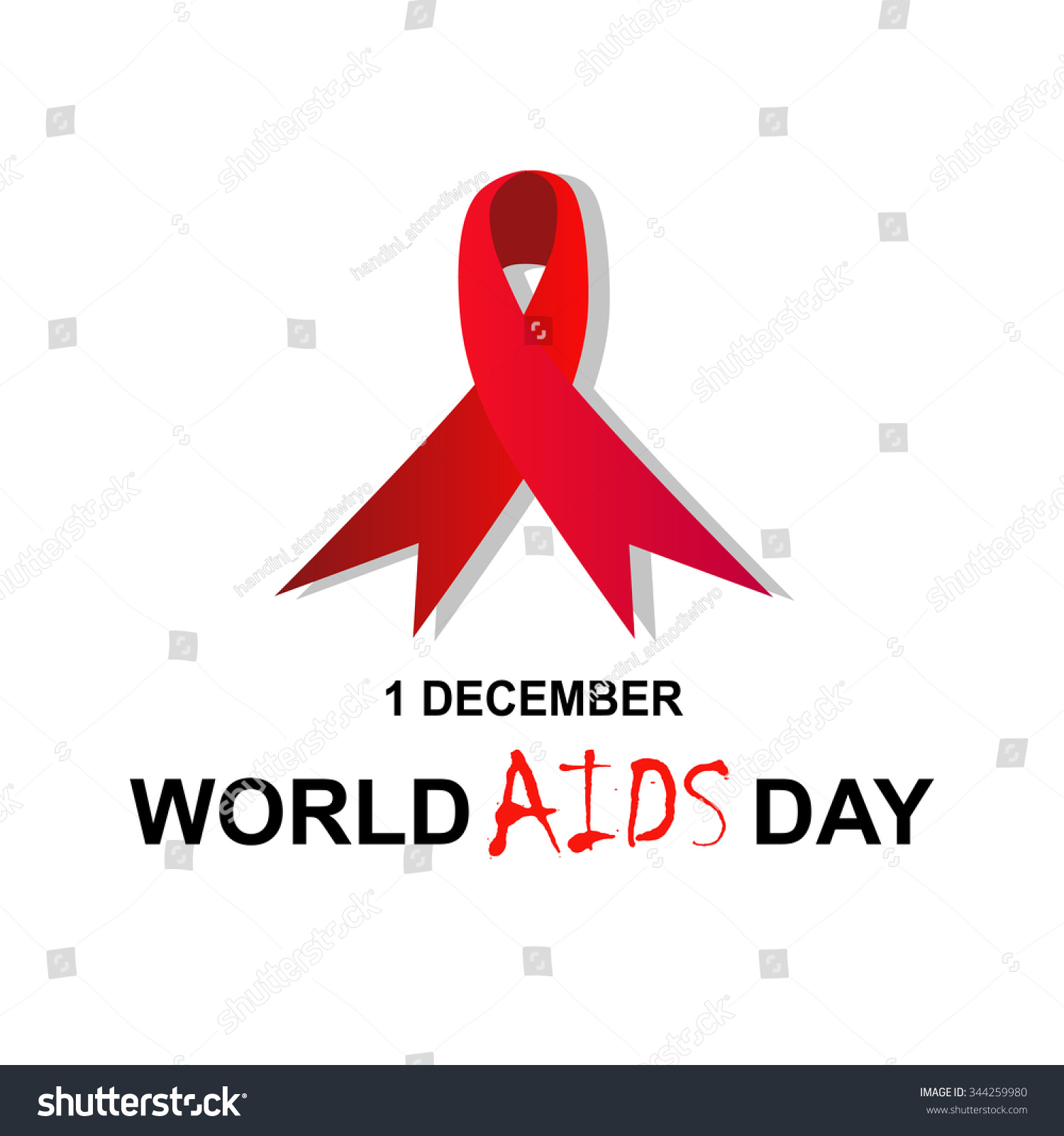 World Aids Day Concept Poster Red Stock Vector 344259980 Shutterstock