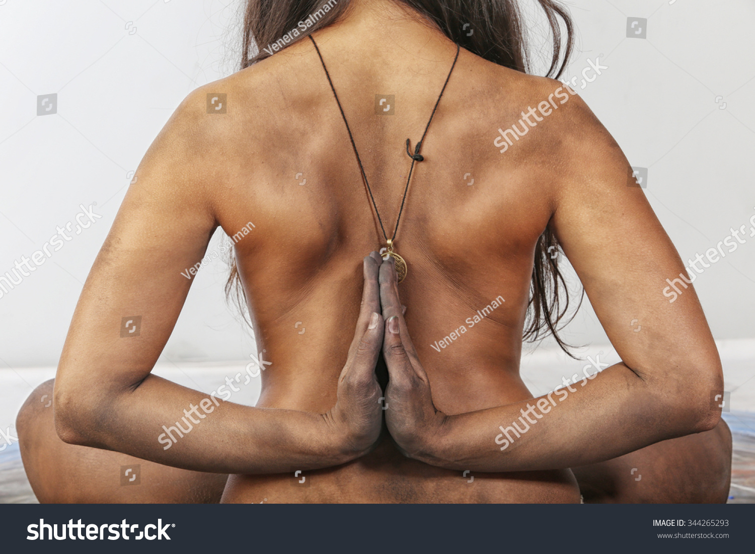 Nude neck Hands behind male
