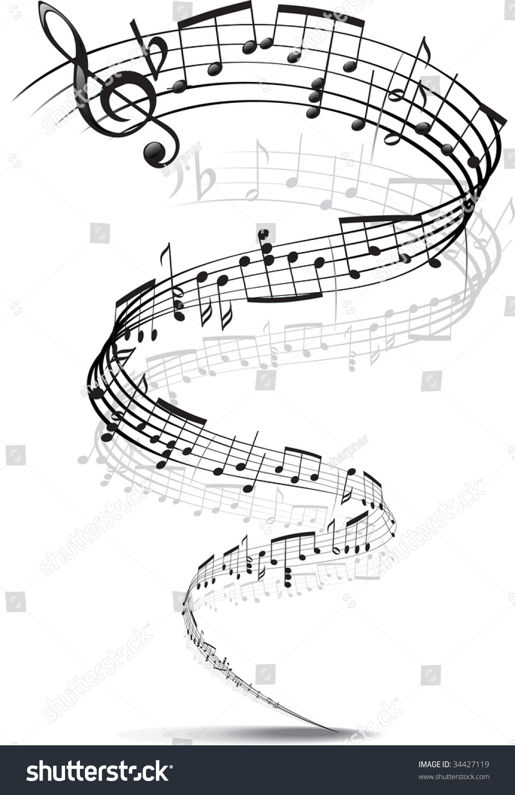 music notes twisted into spiral stock vector 34427119
