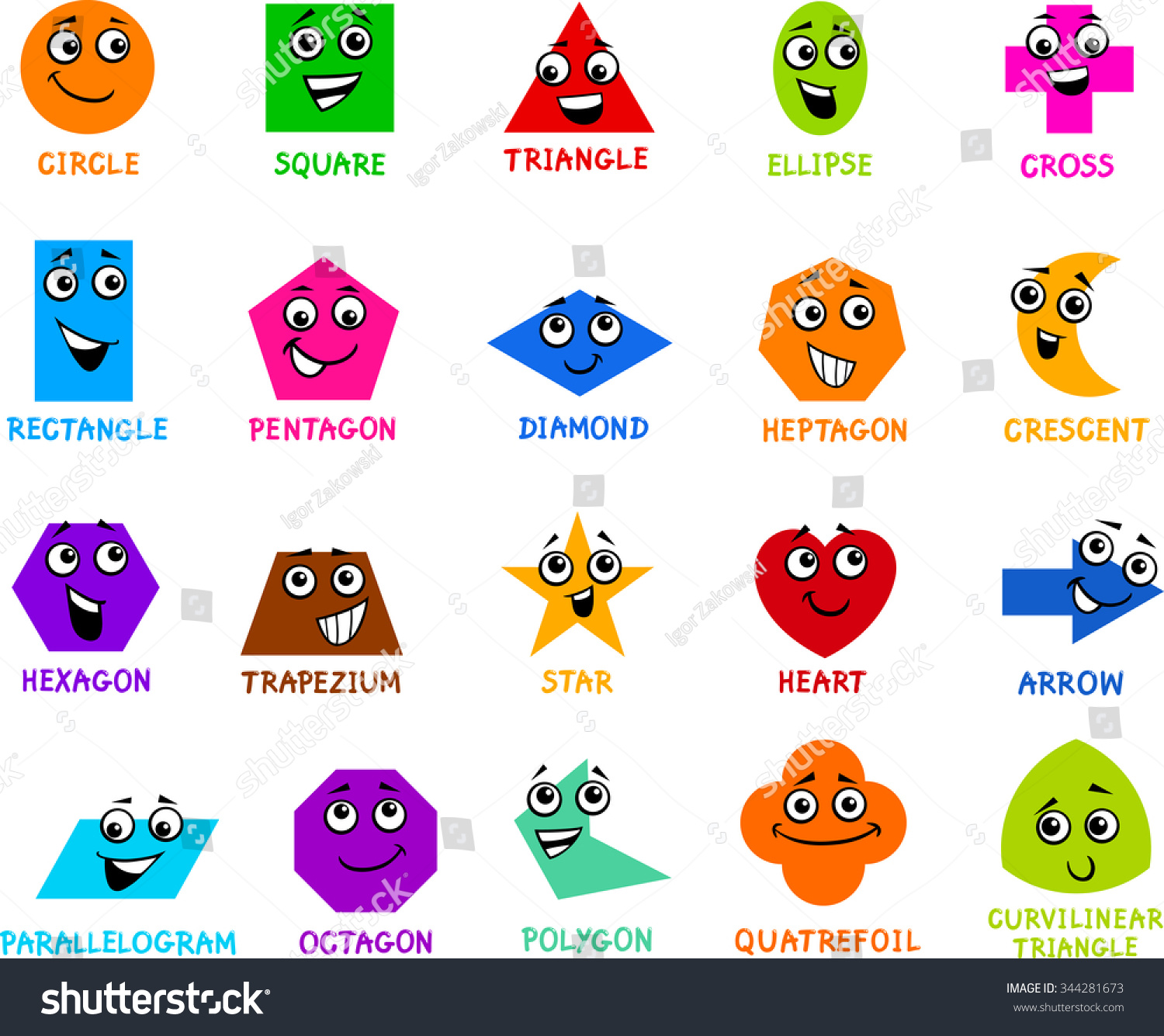 Worksheet Preschool Shapes cartoon illustration educational basic geometric shapes stock of characters with captions for preschool or primary school children