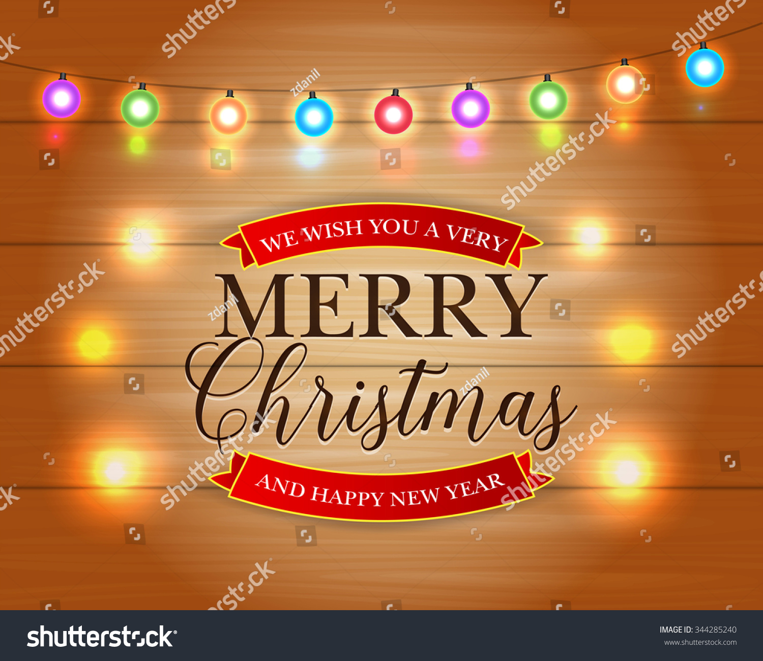 Merry christmas happy new year card stock vector royalty free merry christmas and happy new year card with christmas lights xmas holiday greeting cards design m4hsunfo