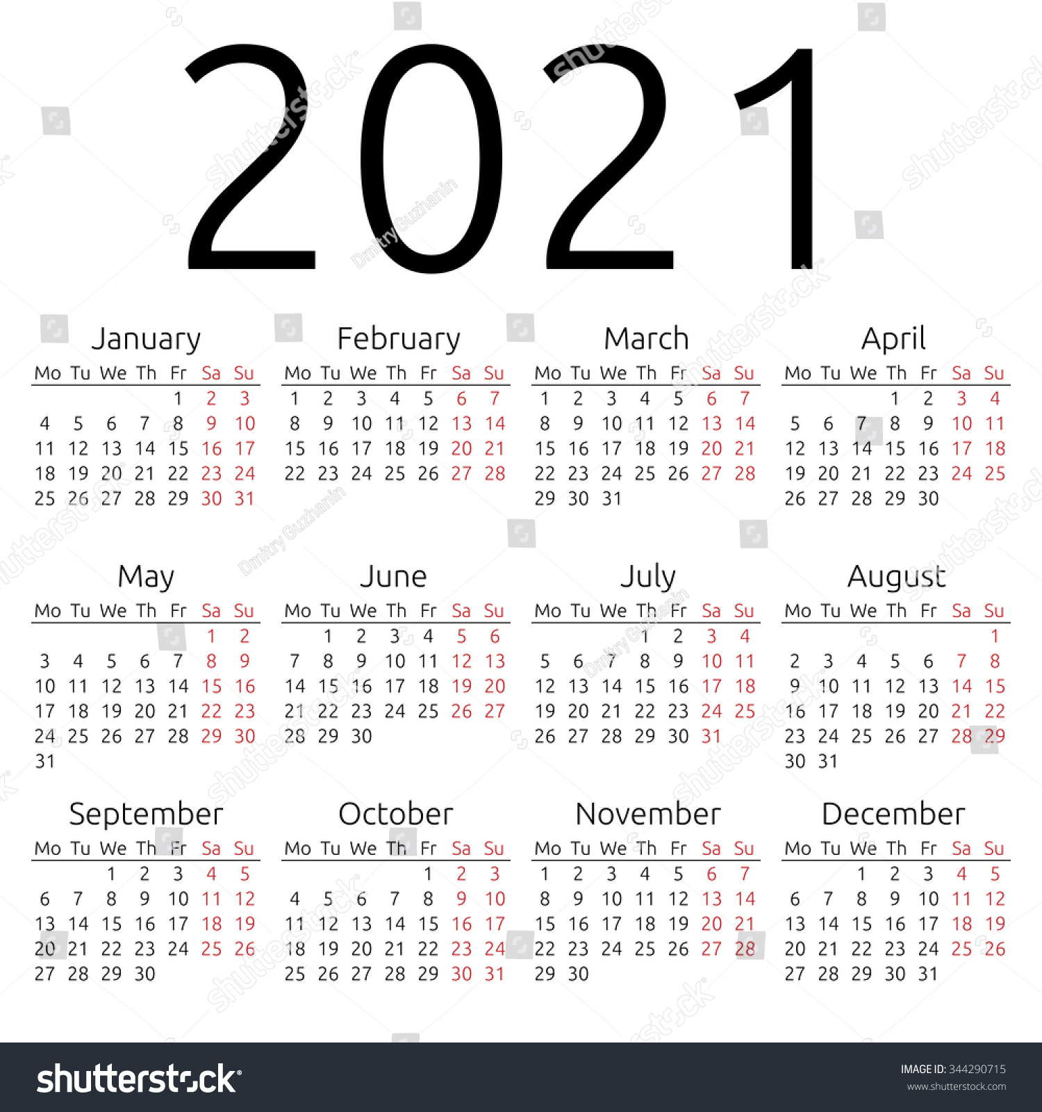 Simple 2021 Year Calendar Week Starts Stock Illustration ...
