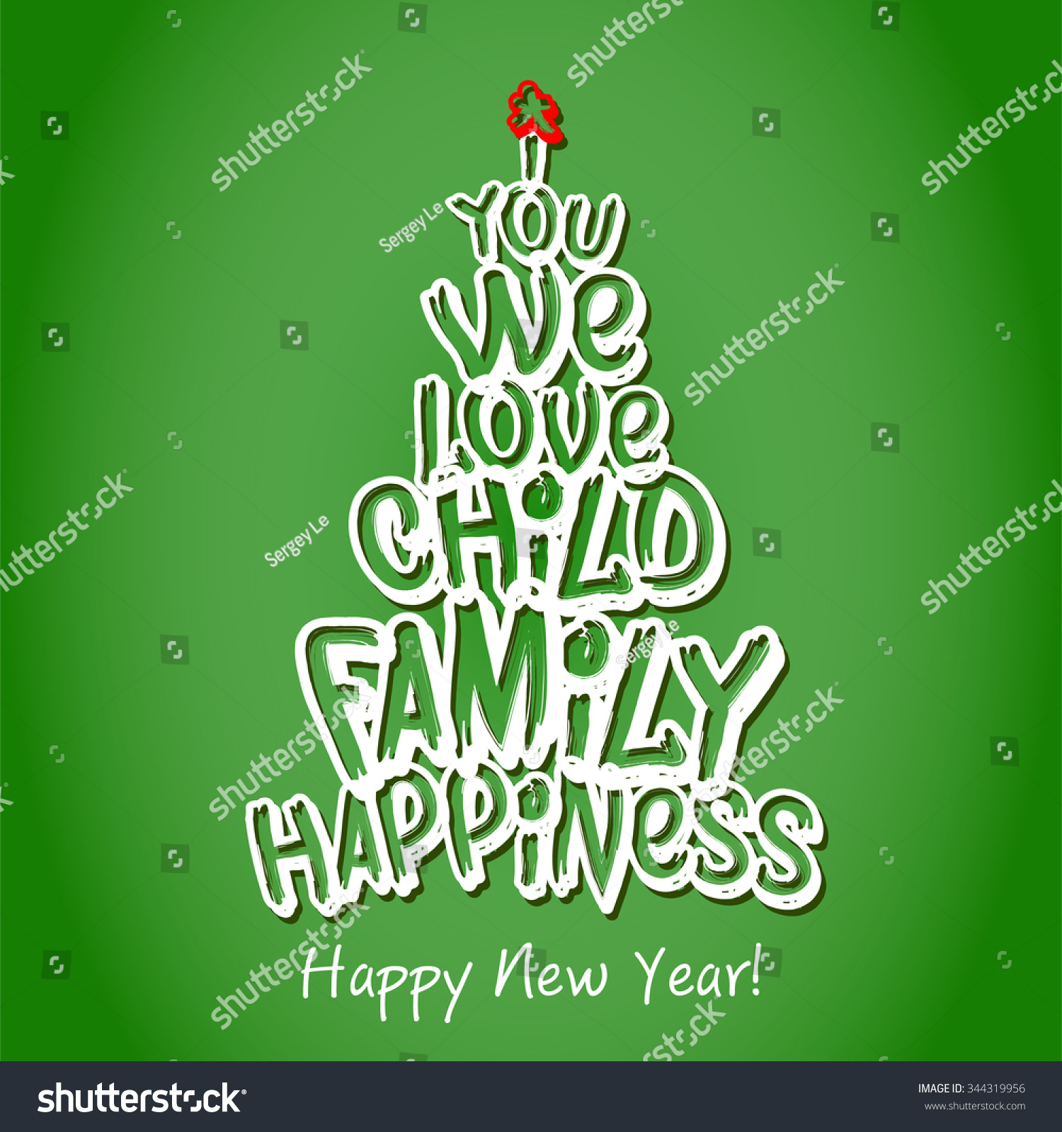 happy new year family greeting card green christmas marry text trees