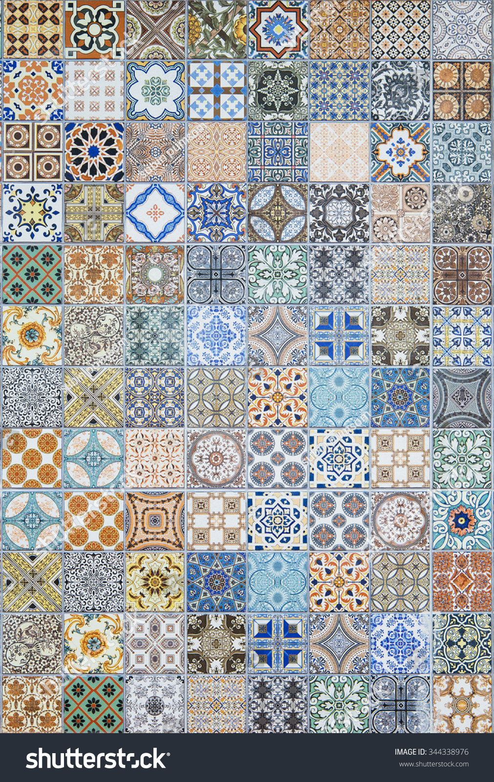 Ceramic Tiles Patterns Portugal Stock Photo (Royalty Free) 344338976 ...
