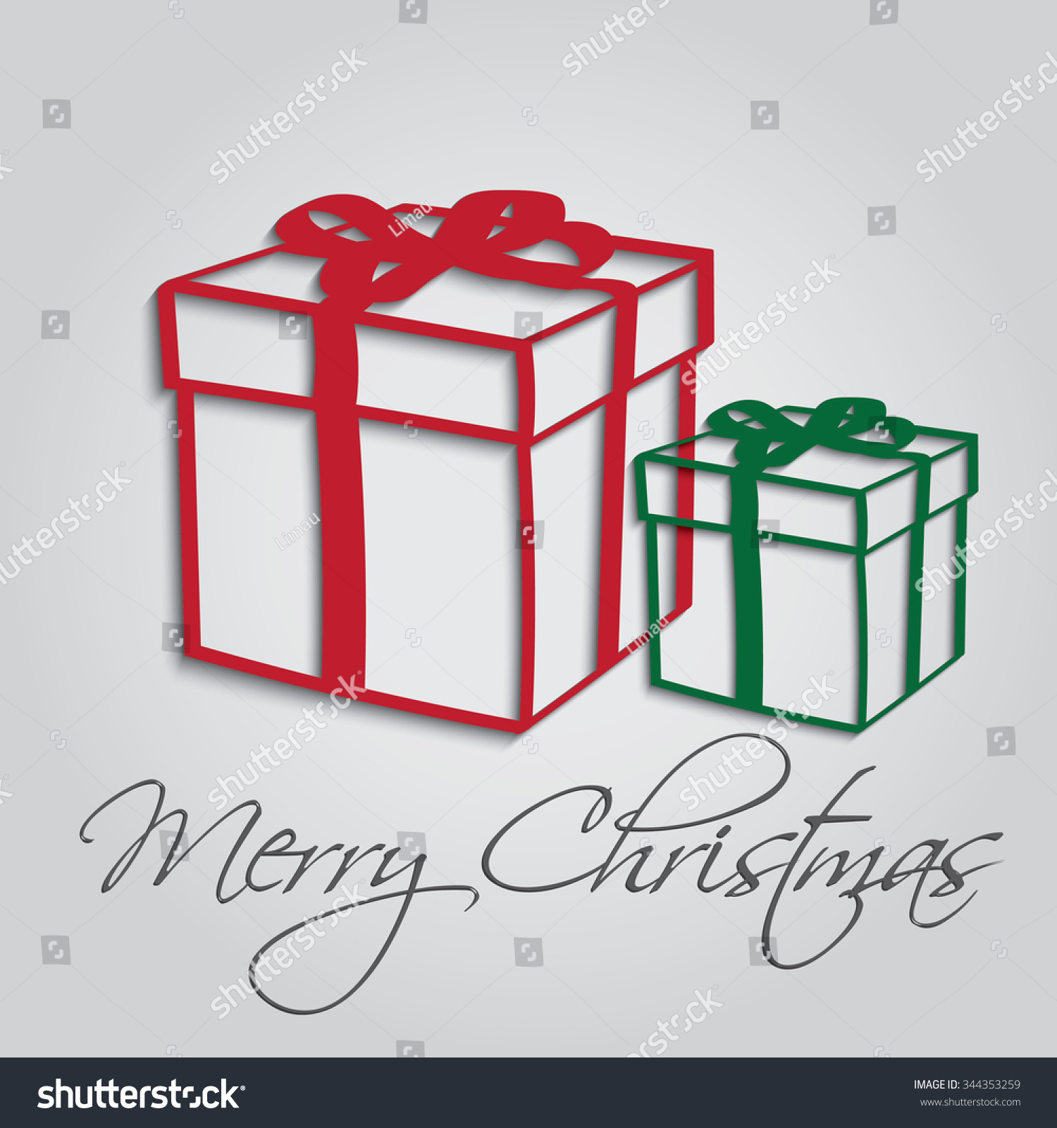 Merry Christmas Greeting Card Clipart Stock Vector 344353259