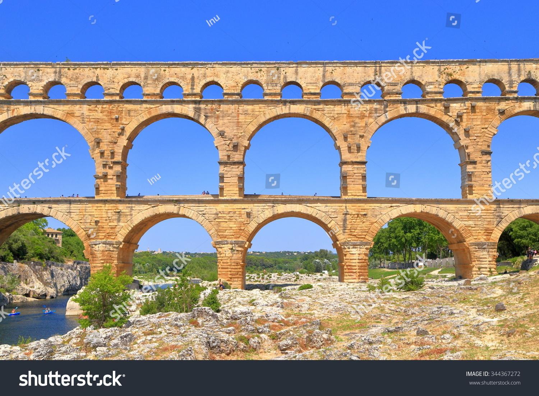 double arches roman aqueduct pont du stock photo 344367272