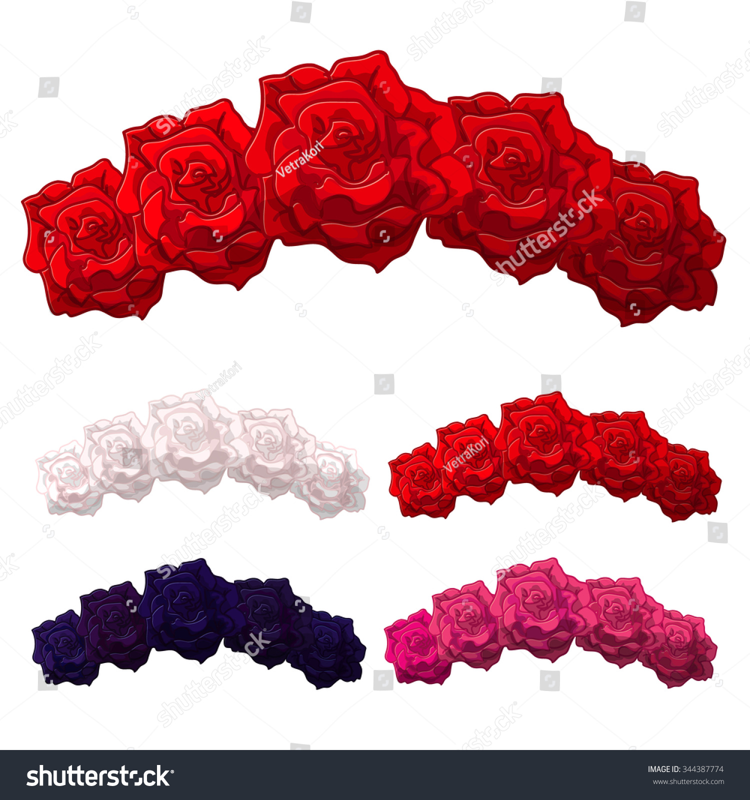 Vector Rose Flower Crown Diadem Head Stock Vector ...