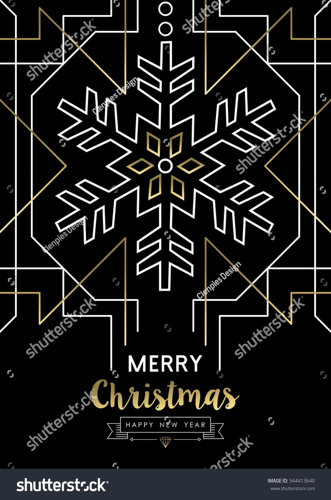 Merry Christmas Happy New Year Snowflake Stock Vector 344413640 ...