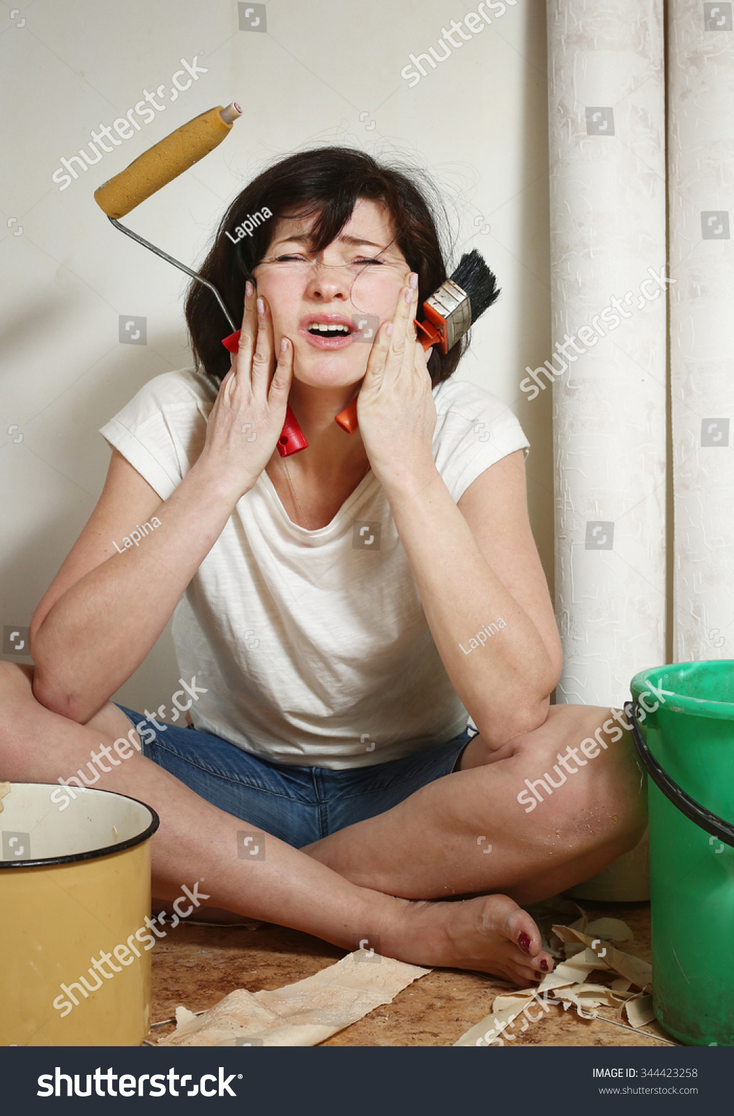 Woman Make Repair Stick Wallpaper Have Stock Photo Edit Now 344423258
