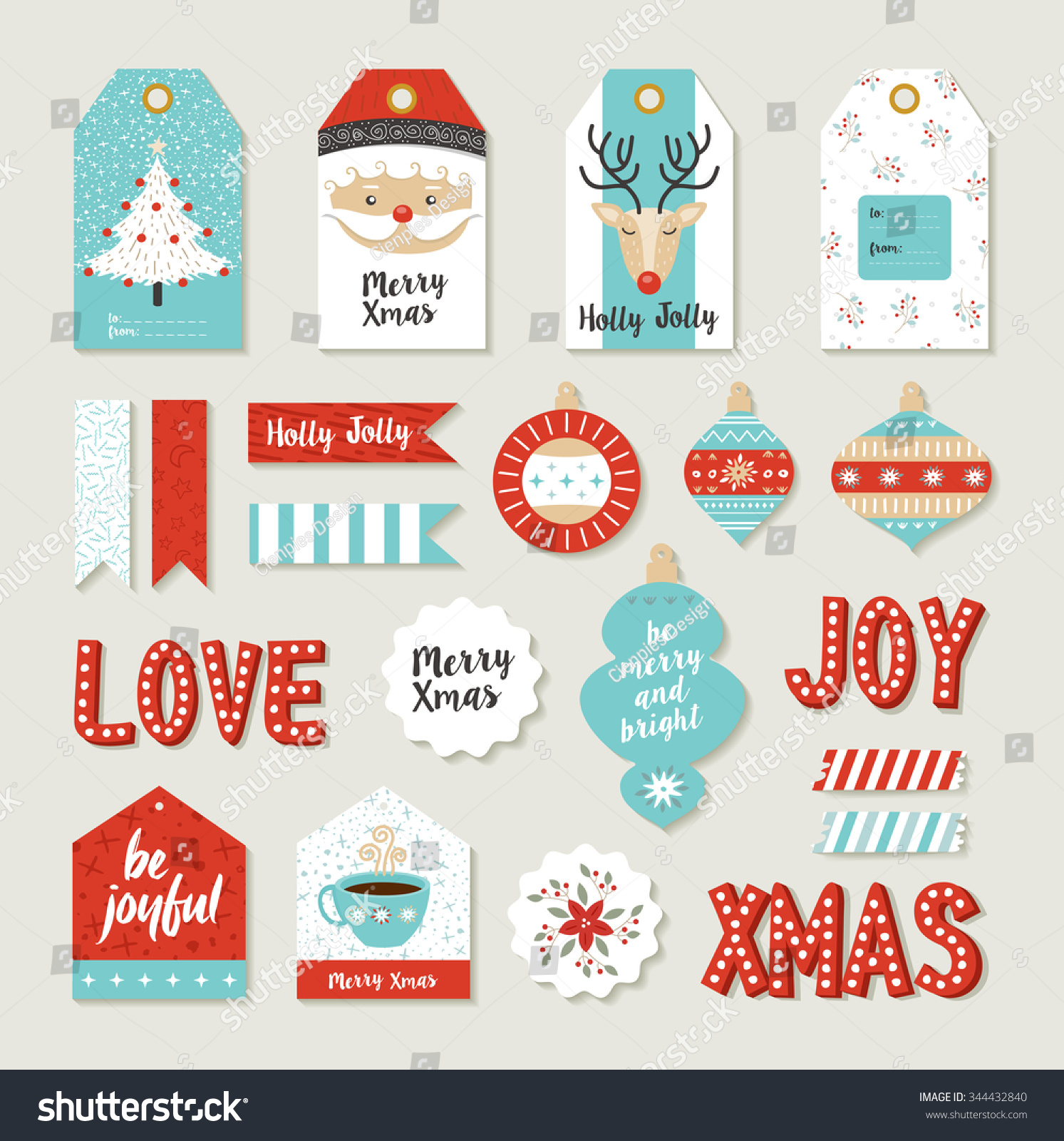 Merry christmas scrapbook set of printable DIY tags signs and banners for holiday gifts or xmas decoration