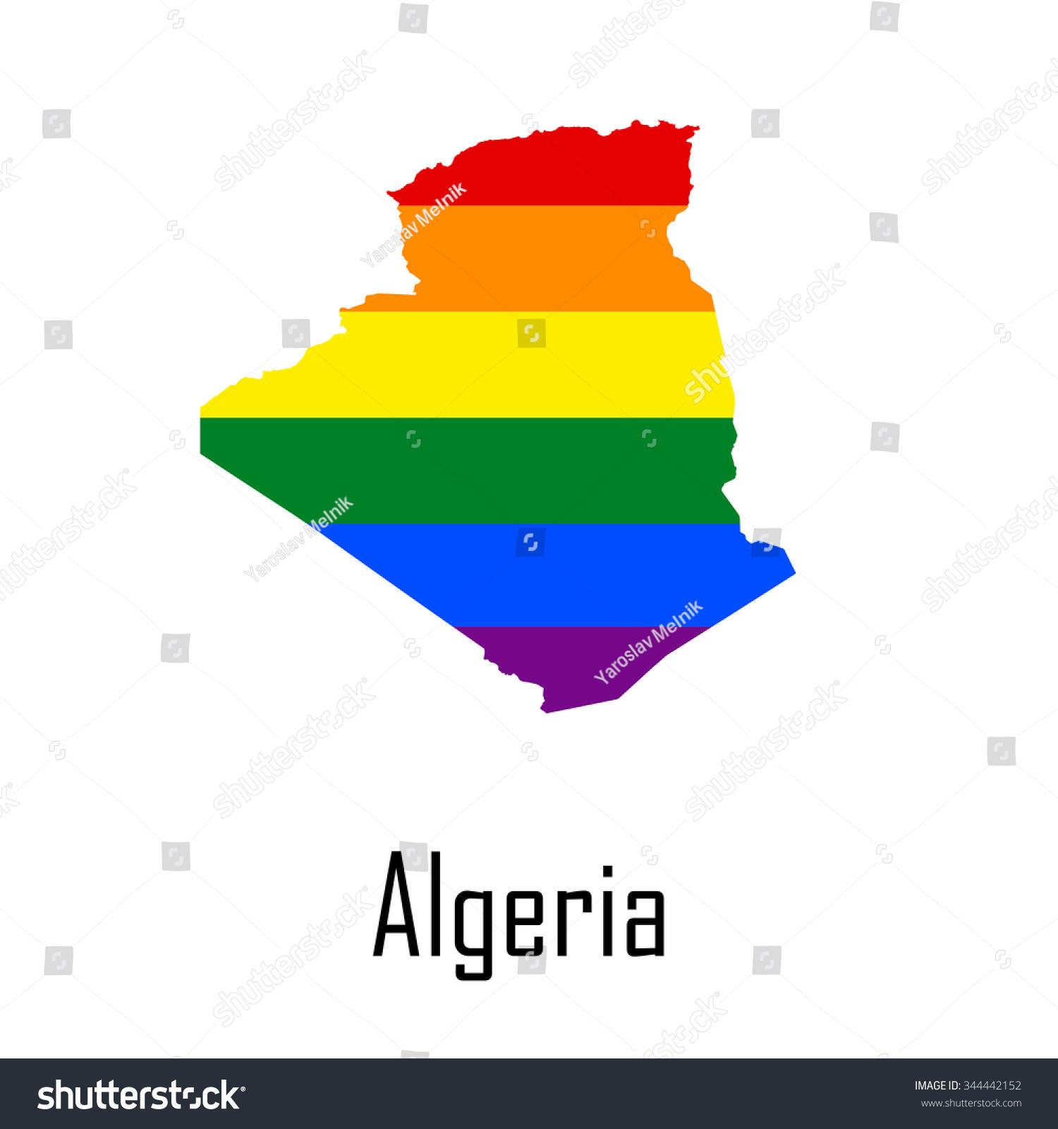 Vector Rainbow Map Algeria Colors LGBT Stock Vector (Royalty Free ...