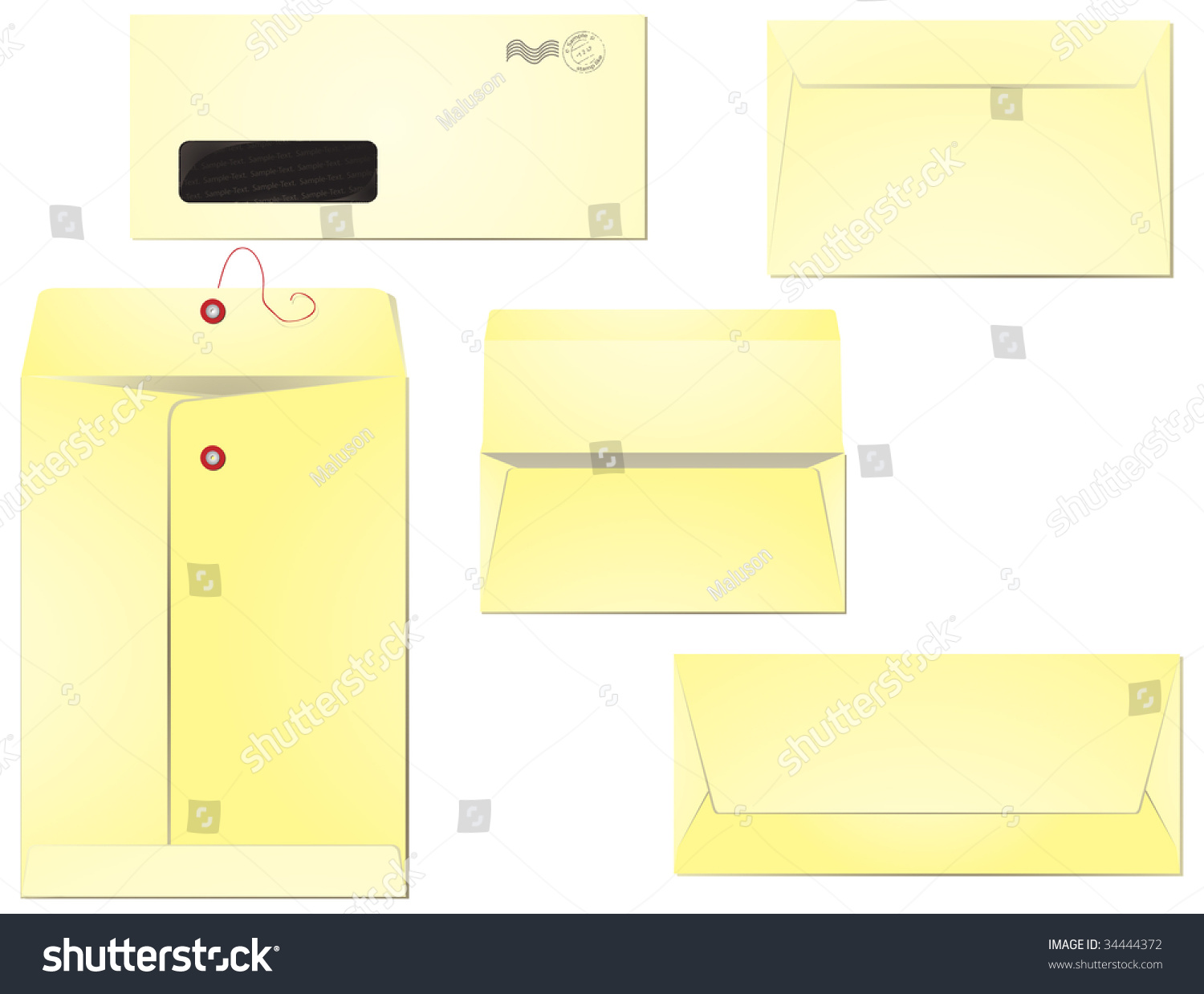 five different types envelopes business correspondence