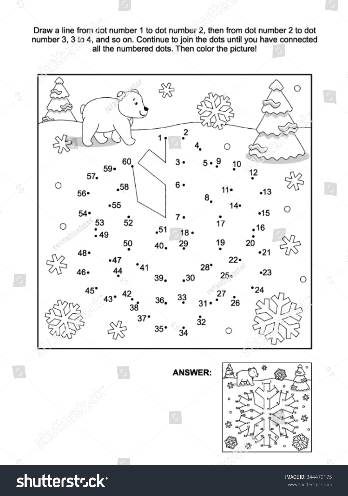 Winter New Year Or Christmas Themed Connect The Dots Picture With Coloring Pages