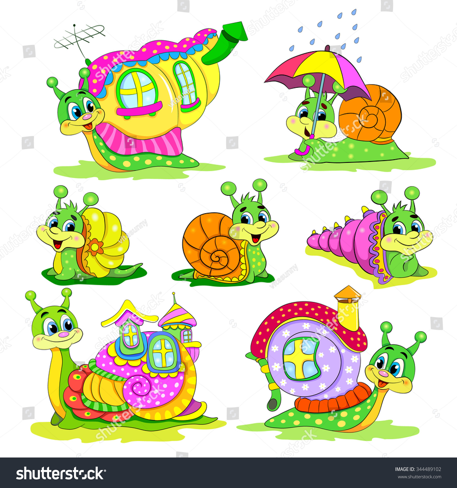 Cartoon funny snail coloring book stock vector 232624141 - Set Of Cartoon Funny Snails With Houses