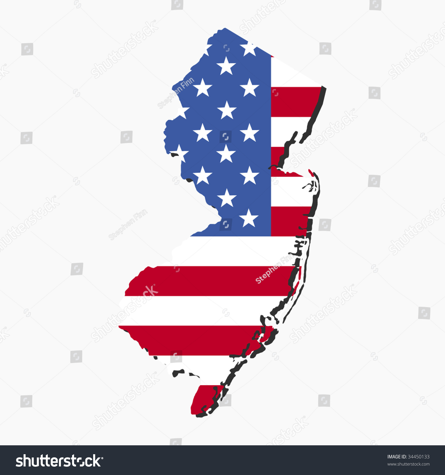 Map New Jersey American Flag Illustration Stock Vector - Us flag and map