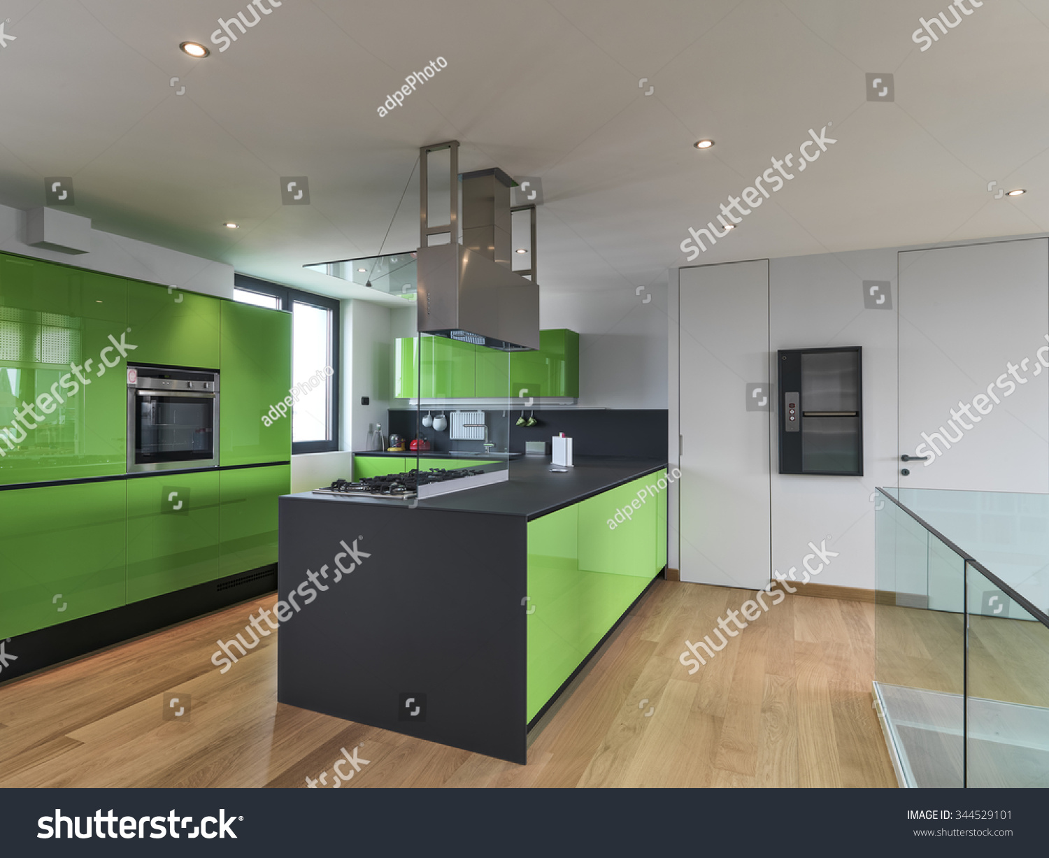Attic Kitchen Green Kitchen With Kitchen Island In The Attic Room With Wood