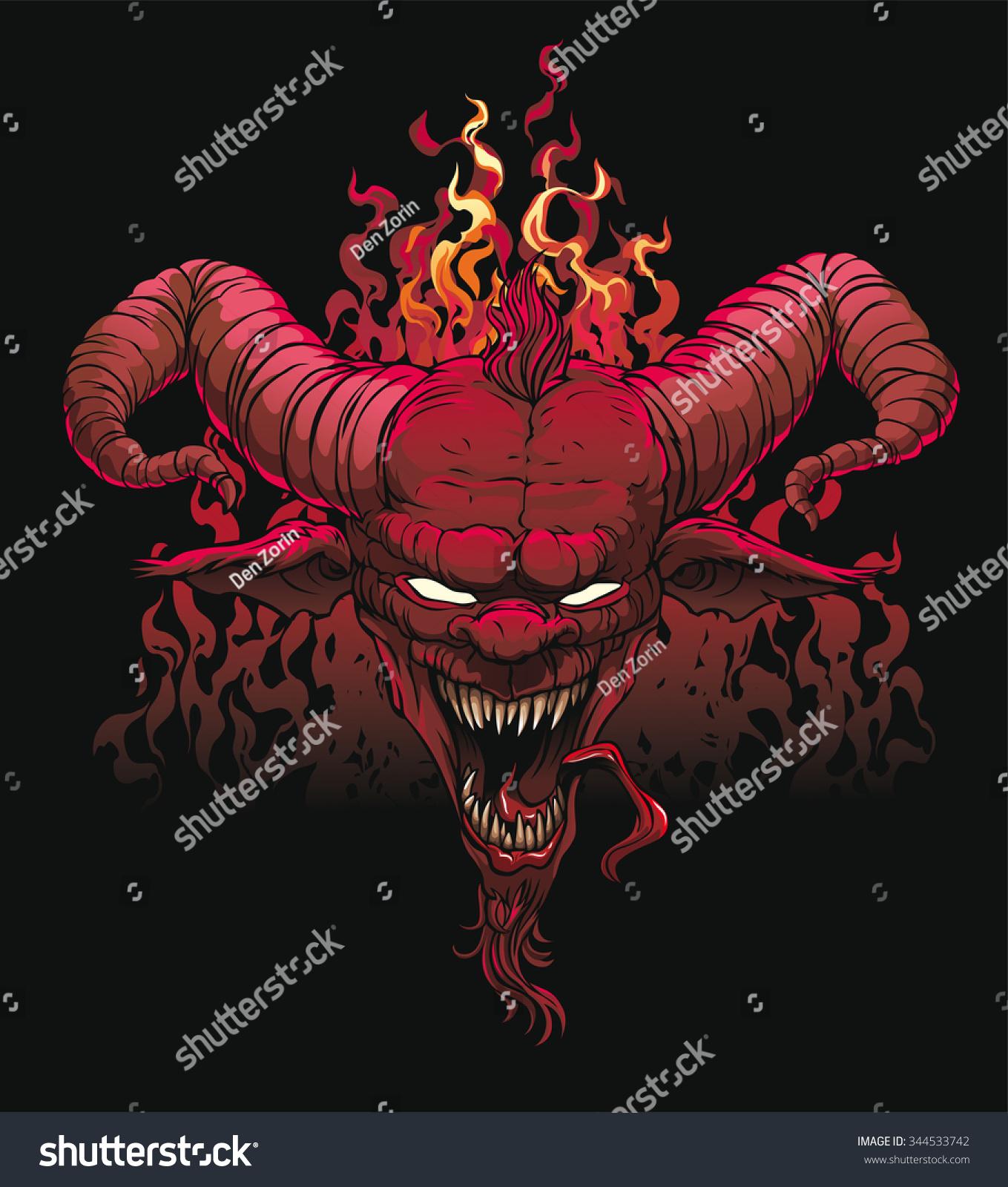Lucifer Devil: Devil Head Devil Satan Lucifer Stock Vector 344533742