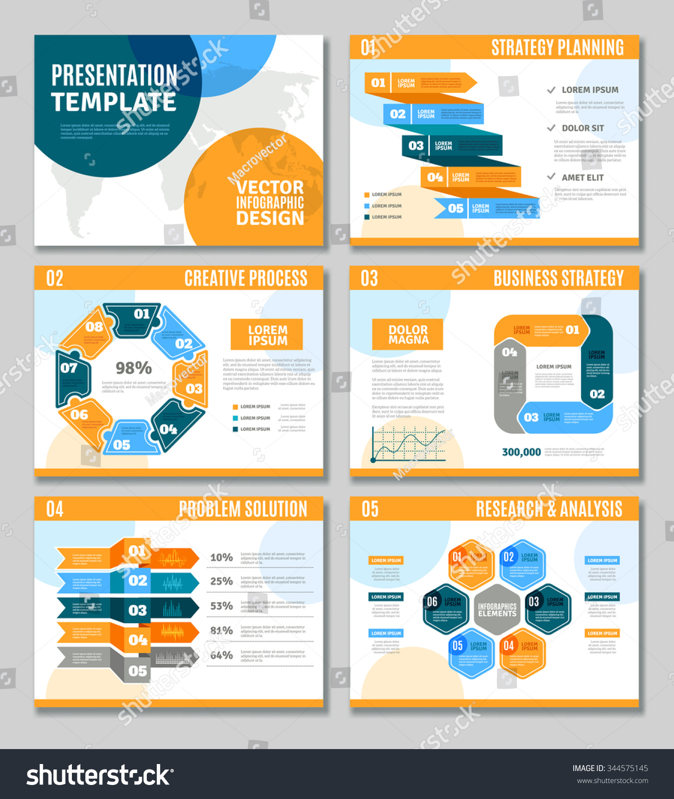 solution approach document template - royalty free infographic template presentation set