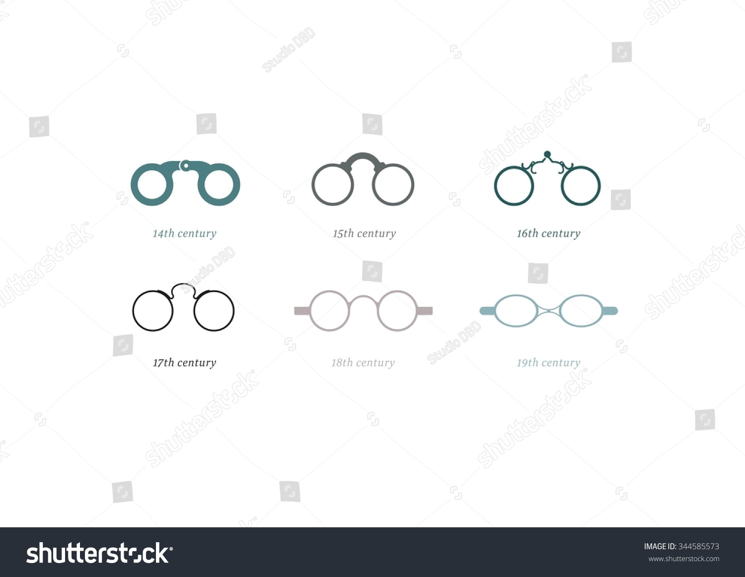 Icon Pack Historical Eyeglasses Stock Vector (Royalty Free) 344585573
